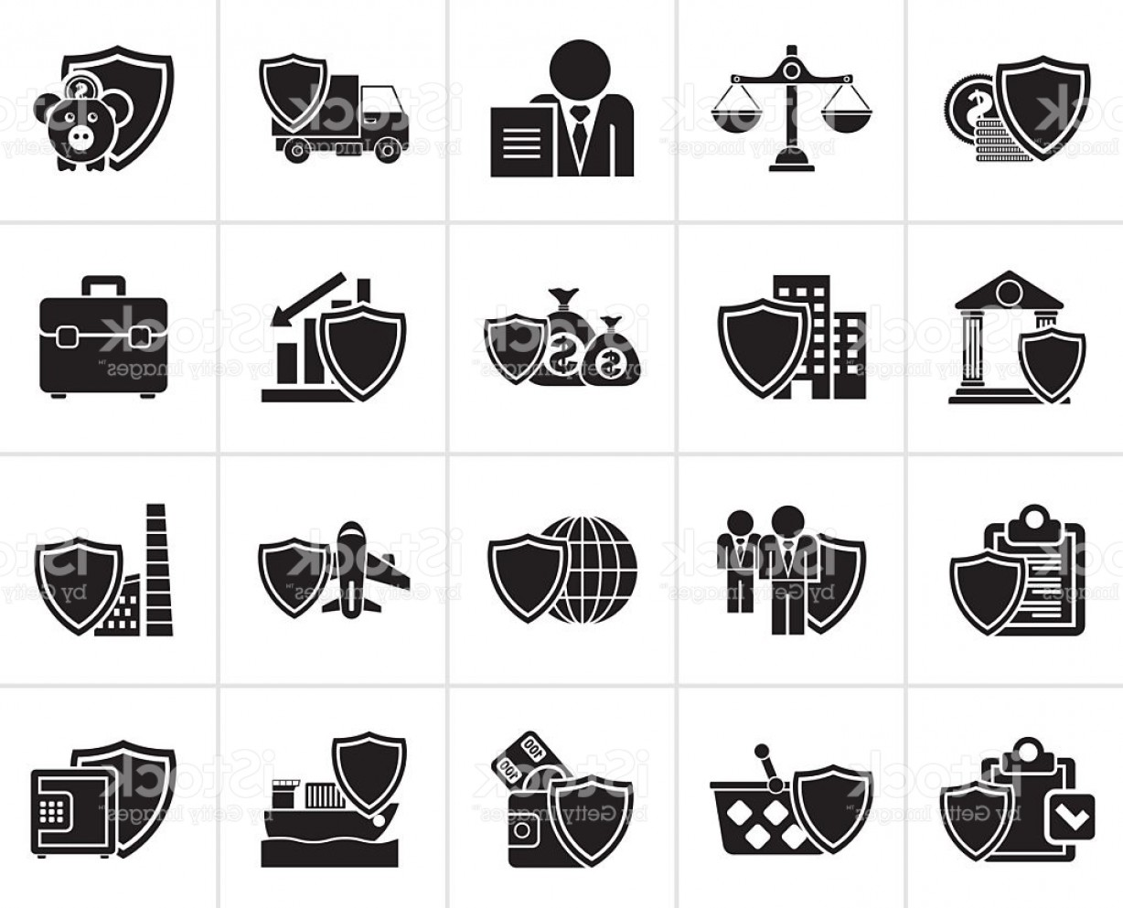 Industrial Vector Art: Black Business And Industrial Insurance Icons Gm