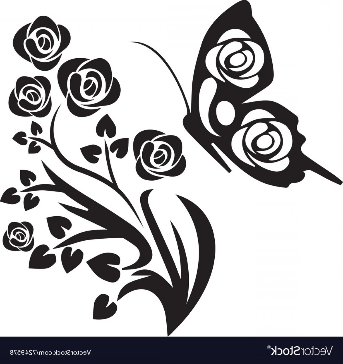 Butter Fly And Flower Vector Black And White: Black Butterfly And Flowers Vector