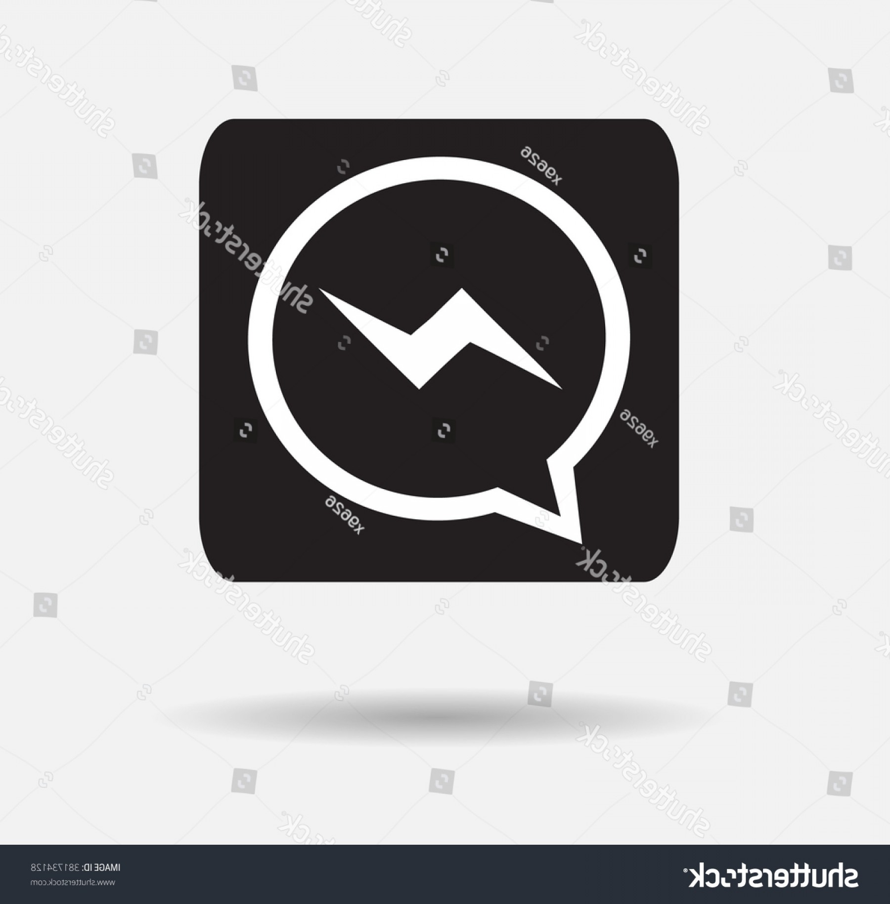 Black Facebook Logo Vector: Black Button Facebook Messenger Icon Vector