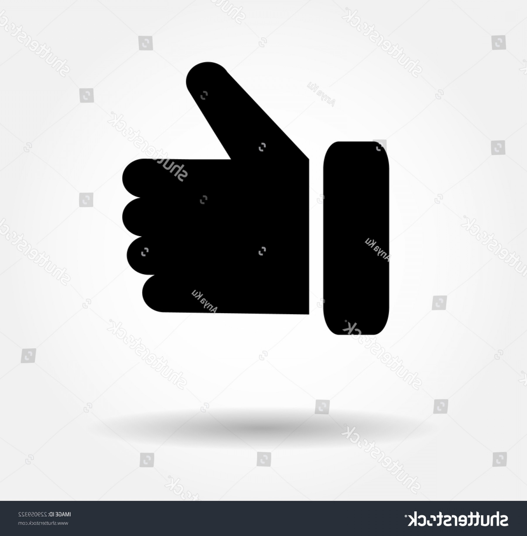 Black Facebook Logo Vector: Black Button Hand Like Icon Facebook
