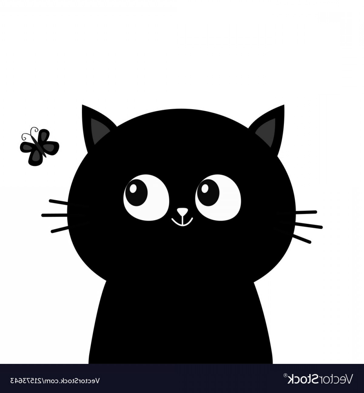 AT-AT Vector: Black Cat Head Face Silhouette Looking At Vector