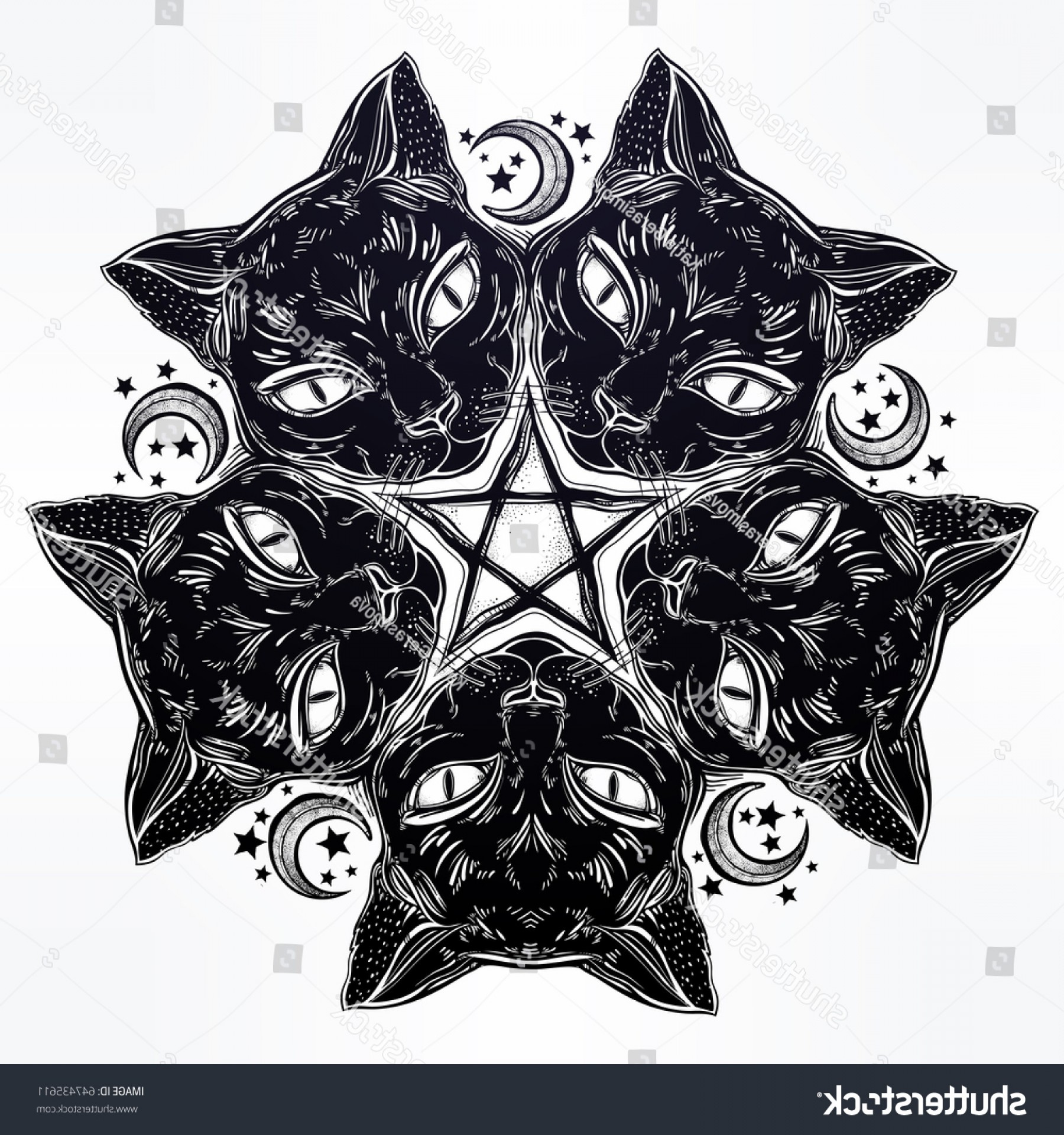 Nala Vector: Black Cat Head Round Portrait Madnala