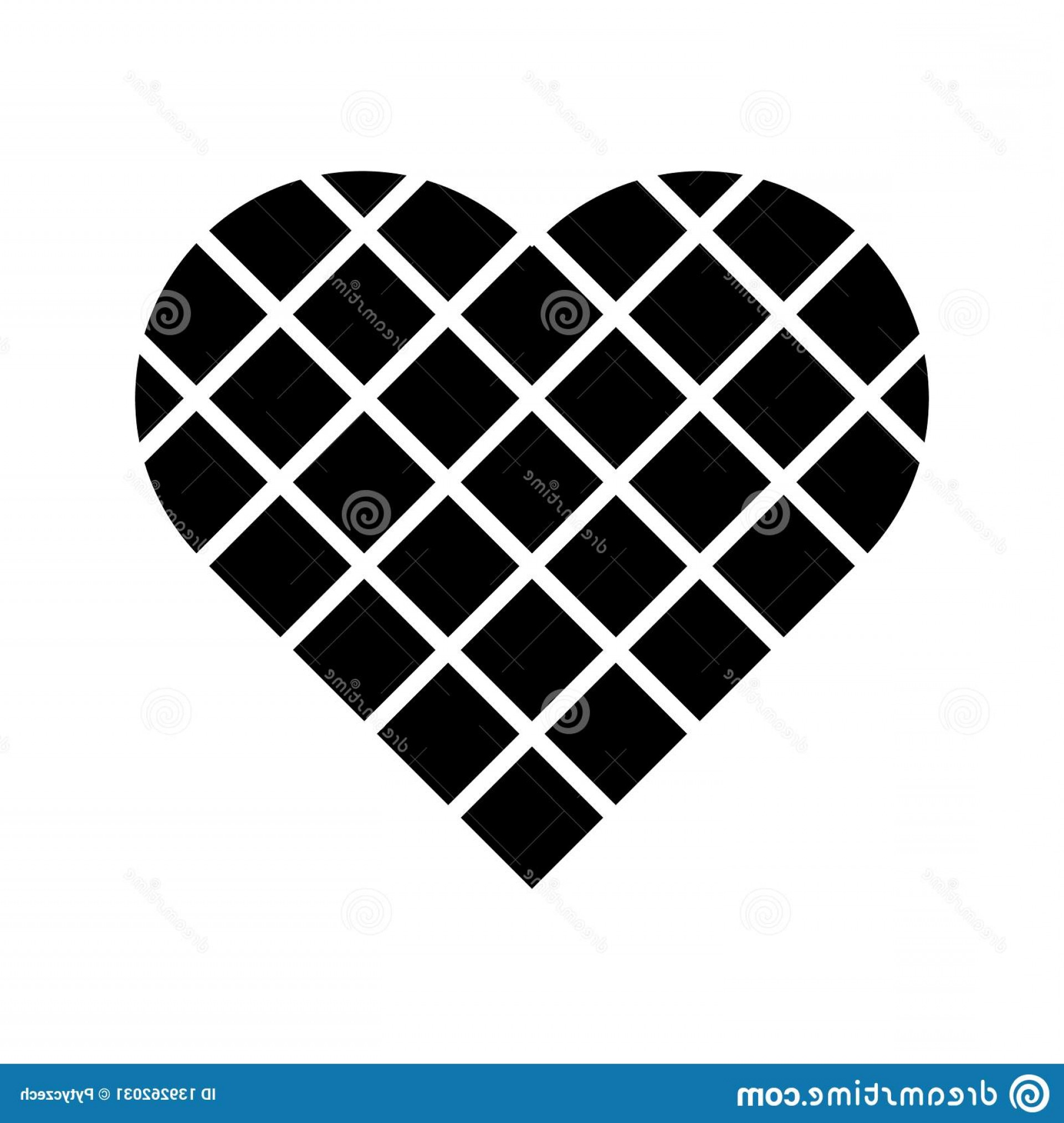 Vector Checkered Flag Heart: Black Checkered Heart Square Grid Diagonal Arrangement Simple Flat Vector Icon Black Checkered Heart Square Grid Diagonal Image