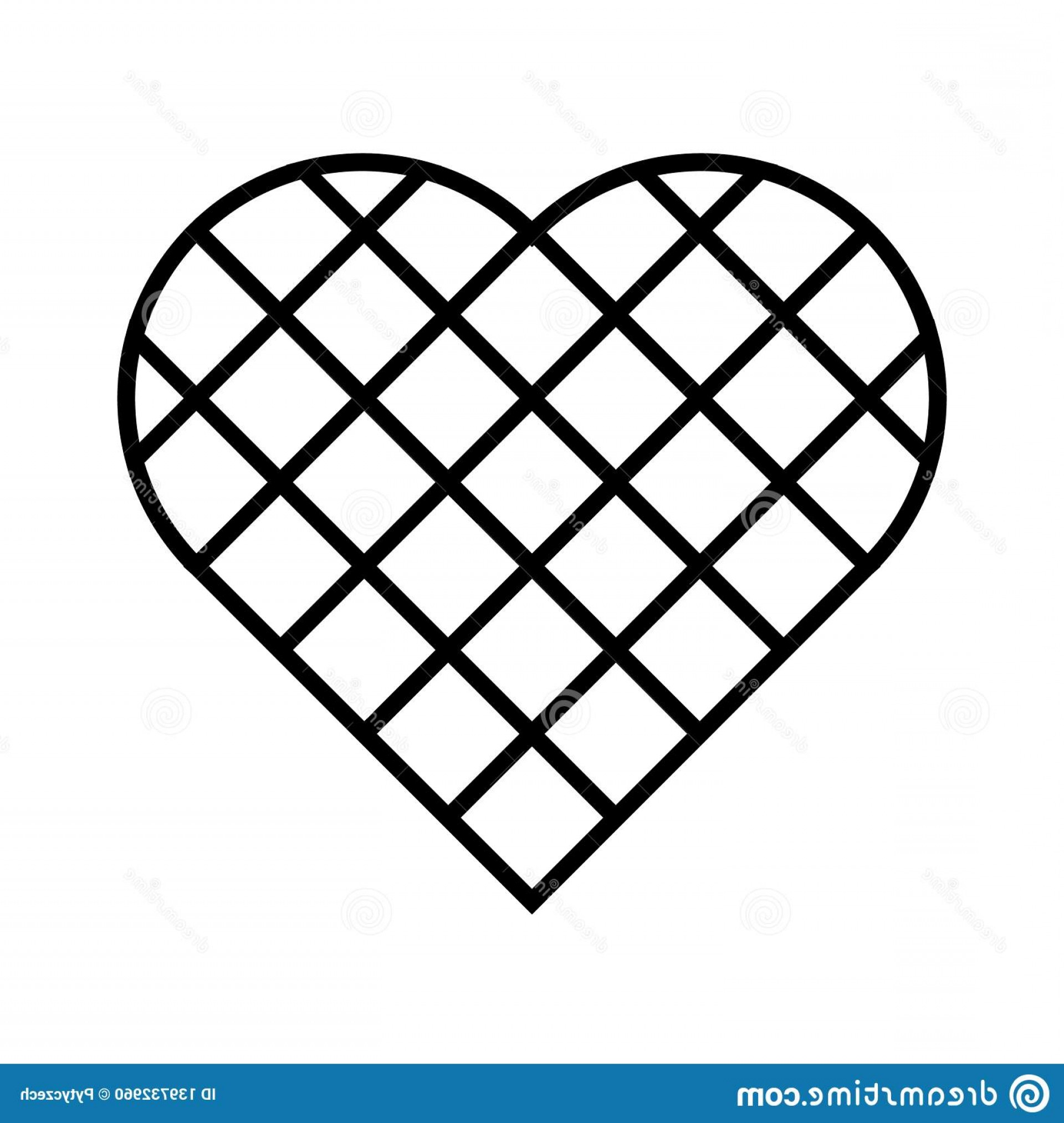 Vector Checkered Flag Heart: Black Checkered Heart Square Grid Diagonal Arrangement Simple Flat Vector Icon Image