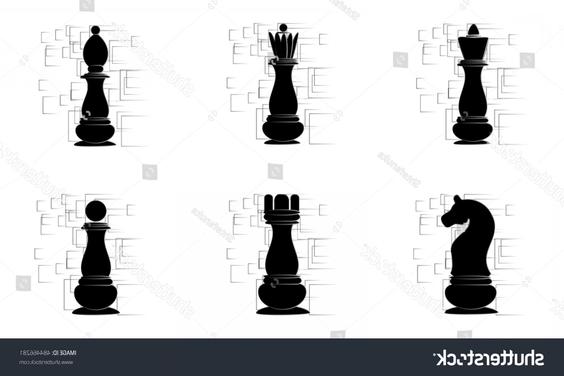 Chess Vector Background: Black Chess Pieces On White Abstract