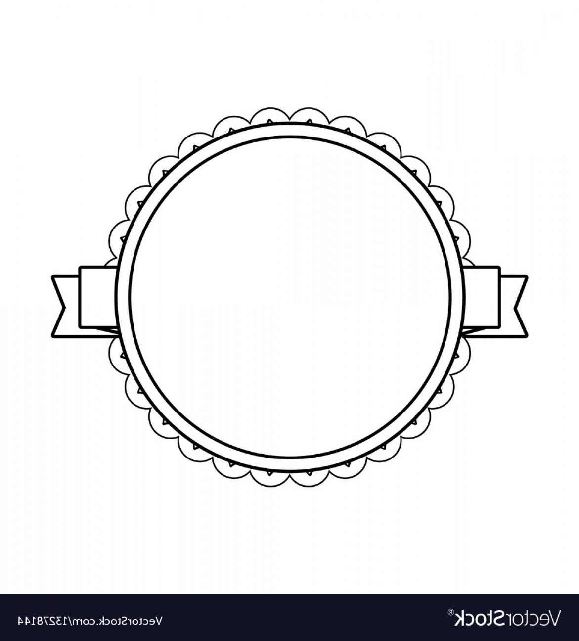 Black Scalloped Border Vector: Black Circle Label With Lacy Border Vector