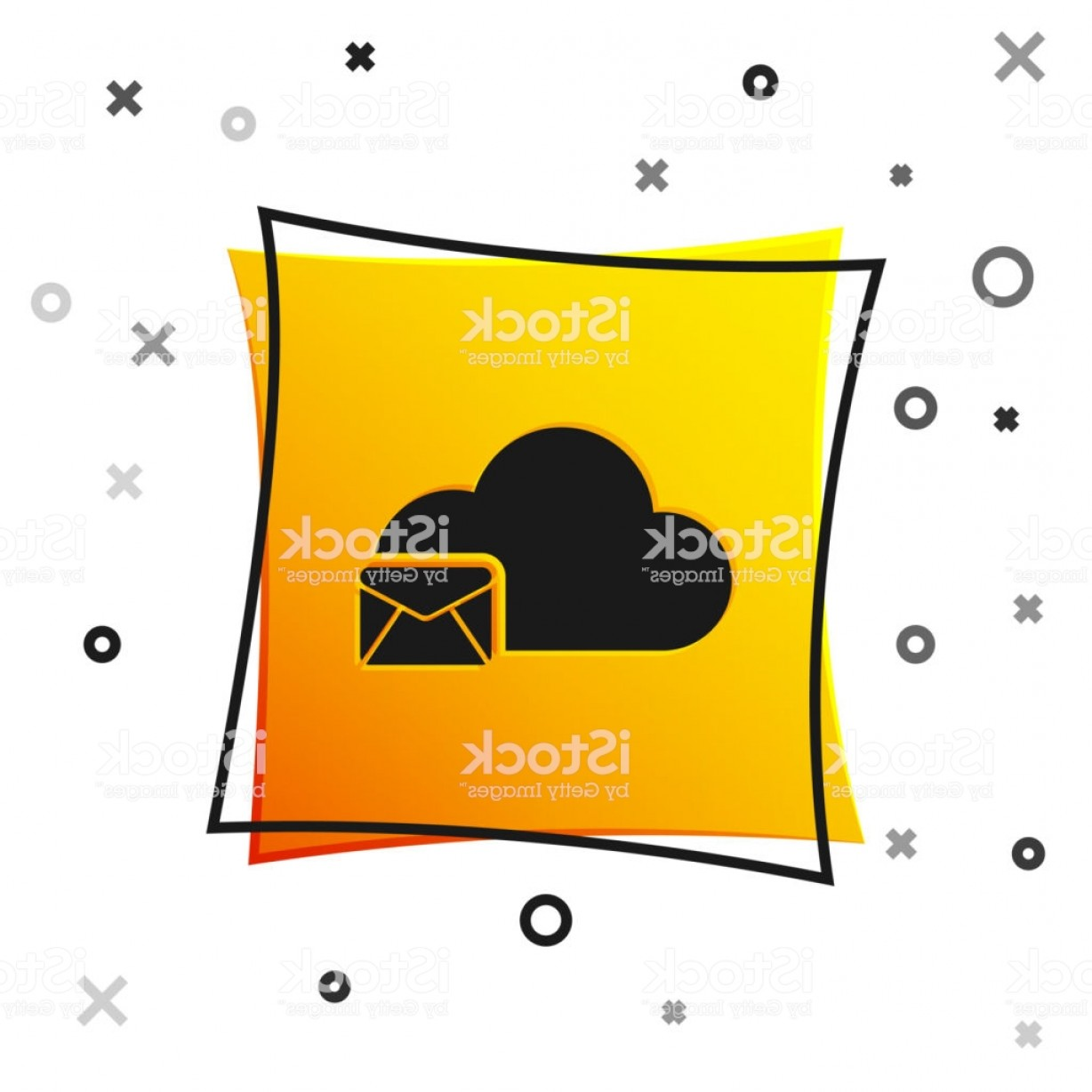 Vector Email Server: Black Cloud Mail Server Icon Isolated On White Background Cloud Server Hosting For Gm