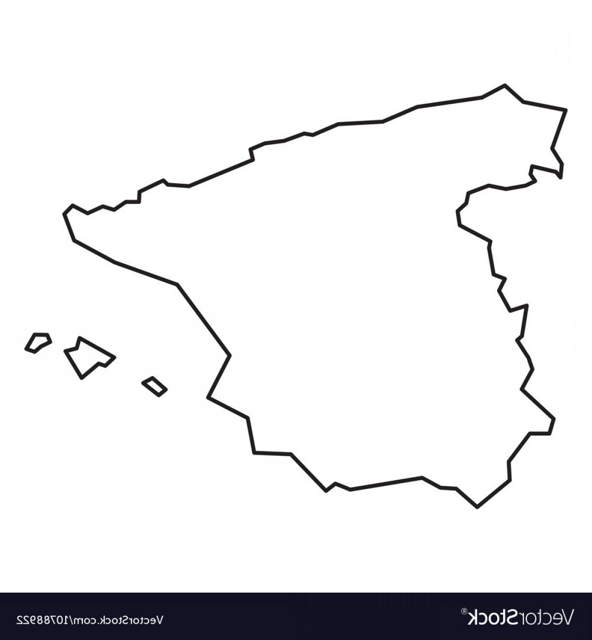 Spain Outline Vector: Black Contour Map Of Spain Vector