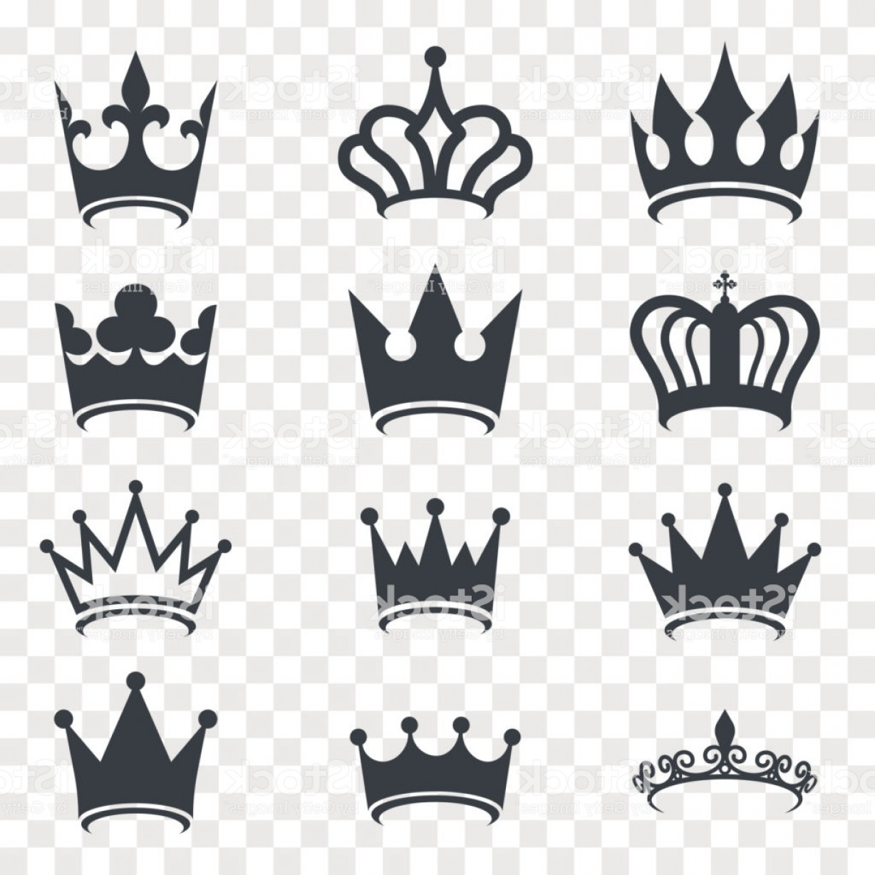 Transparent Queen Crown Vector: Black Crown Silhouette Isolated On Transparent Background Royal Crown Icons Gm