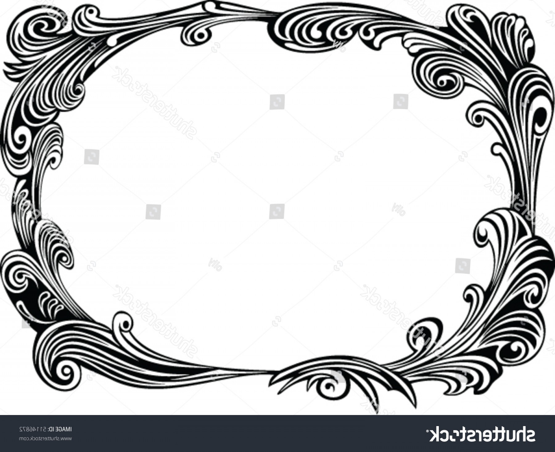 Filigree Oval Frame Vector: Black Decorative Frame Filigree Elements