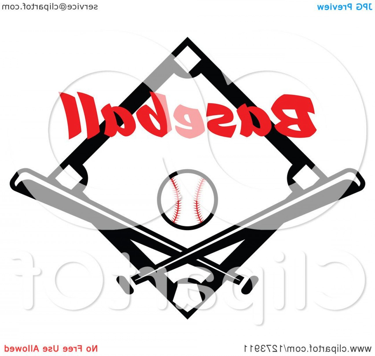 Black Diamond Vector Clip Art: Black Diamond With A Ball Baseball Text And Crossed Bats