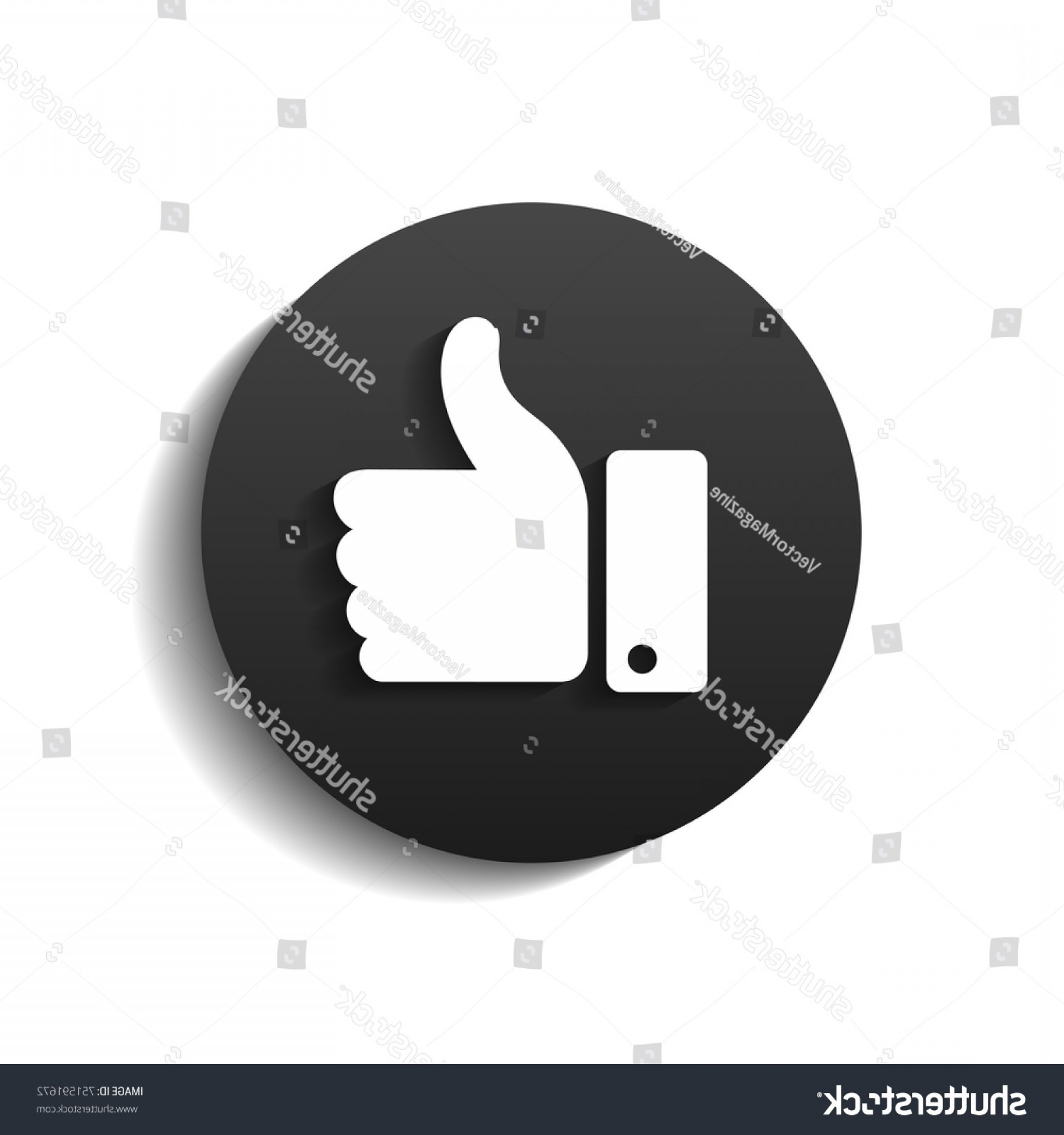 Black Facebook Logo Vector: Black Facebook Thumb Symbol Like Shadow