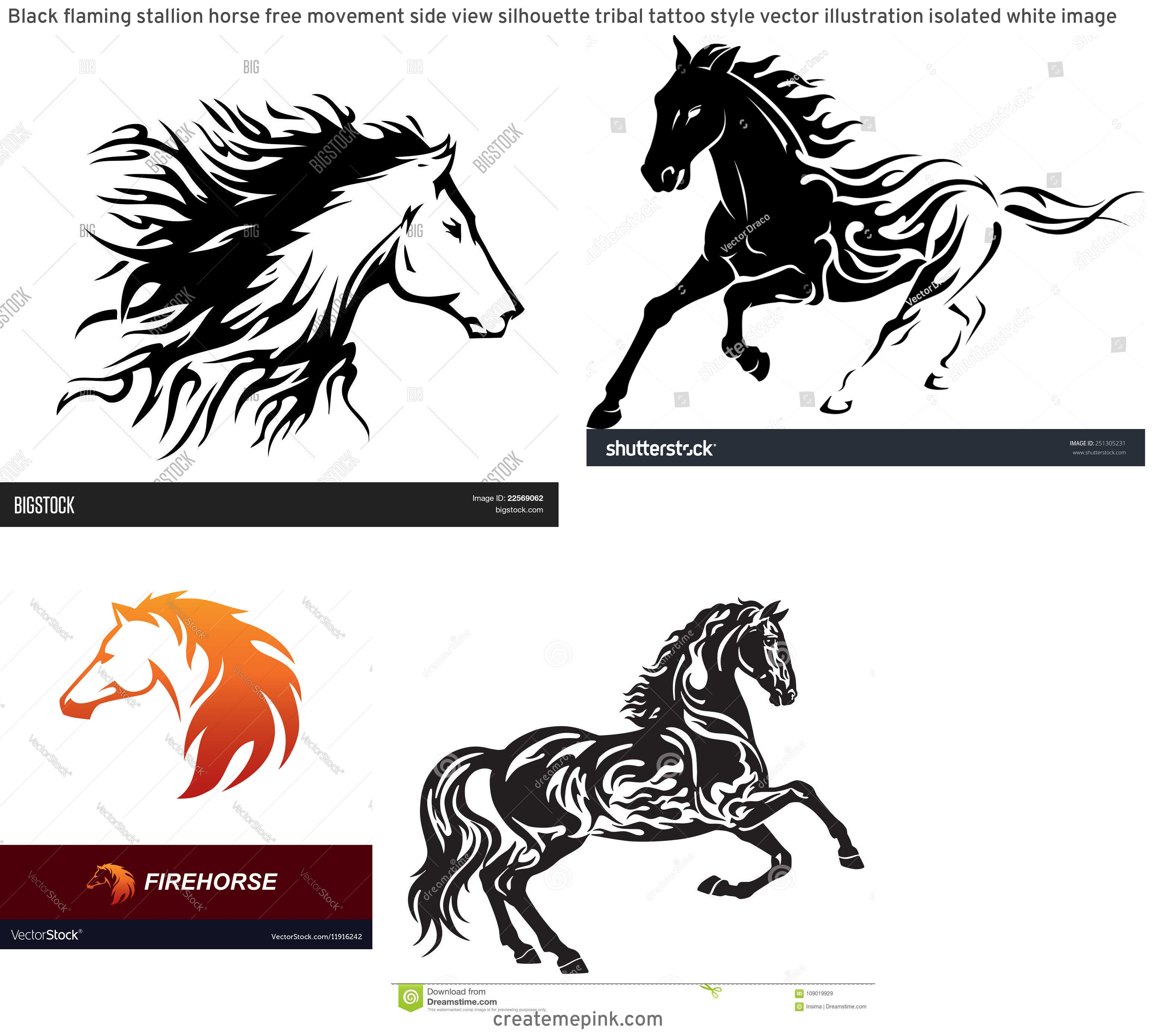 Horse With Flames Vector: Black Flaming Stallion Horse Free Movement Side View Silhouette Tribal Tattoo Style Vector Illustration Isolated White Image