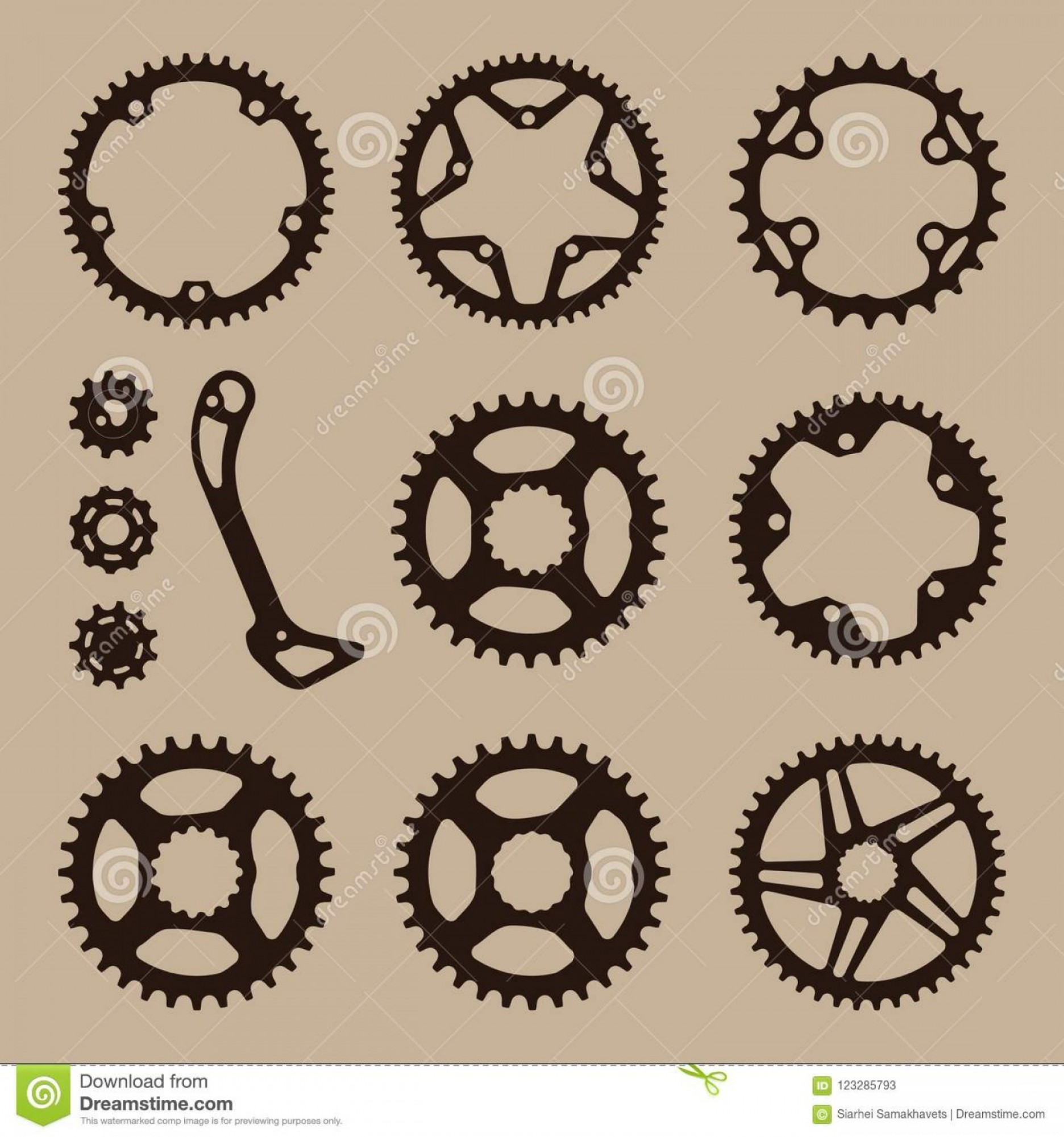 Bicycle Crank Vector Of Artwork: Black Flat Cogwheel Color Background Set Sport Bicycle Elements Gear Sprocket Symbols Chain Wheel Image