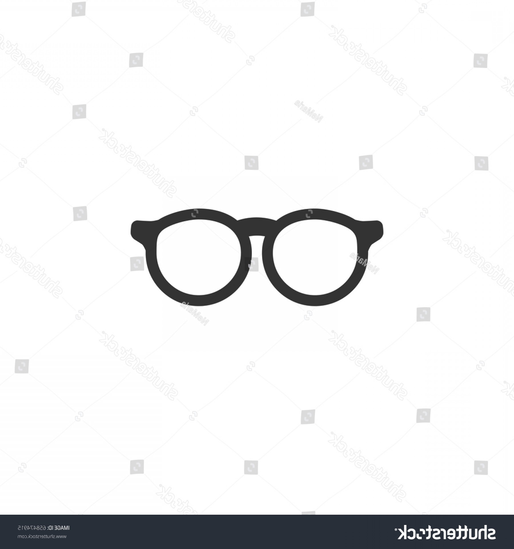 Glasses Vector Flat: Black Flat Hipster Glasses Icon Isolated