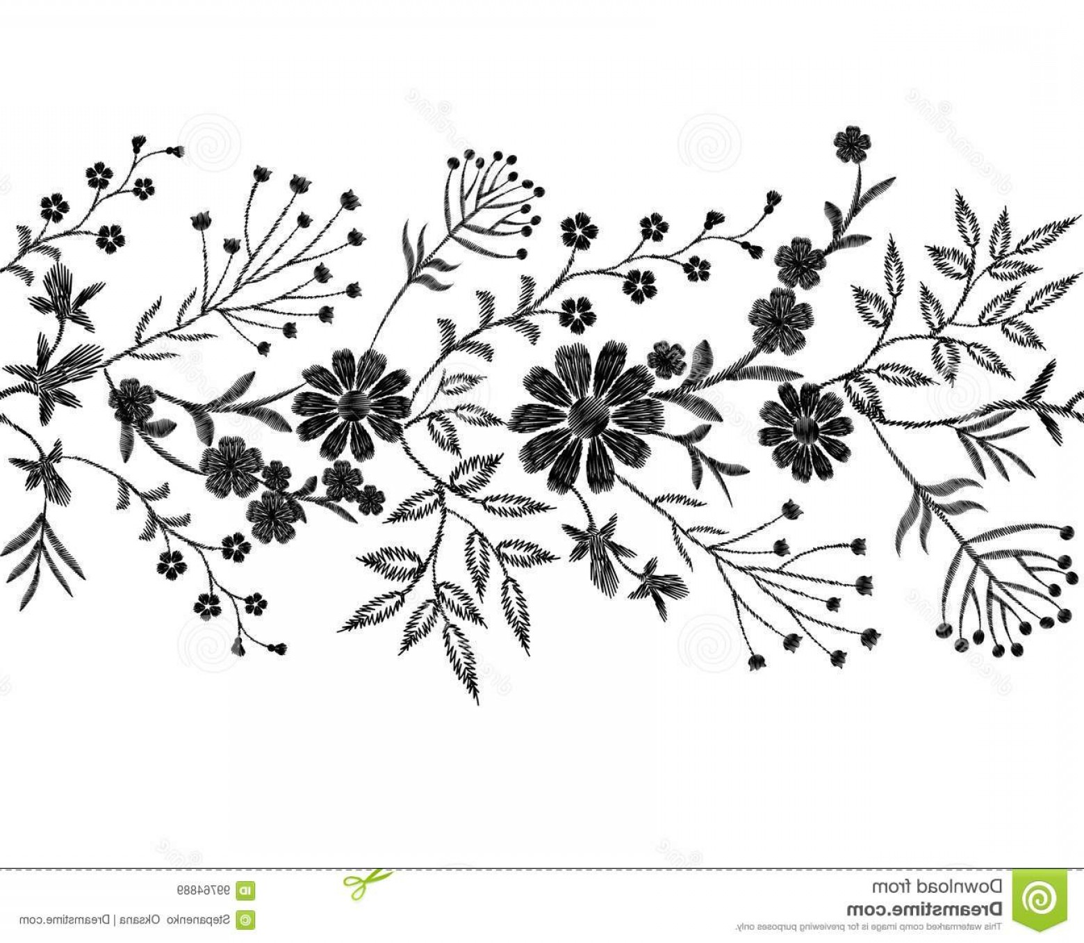 Vector Flower Band: Black Floral Embroidery Ornament Fashion Clothes Decoration Seamless Border Band Stitch Texture Embroidered Field Flower Leaves Image