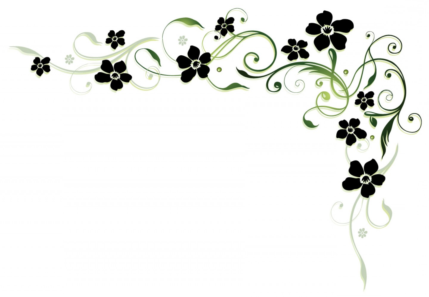 Floral Vector Icon: Black Flower With Floral Decor Vector