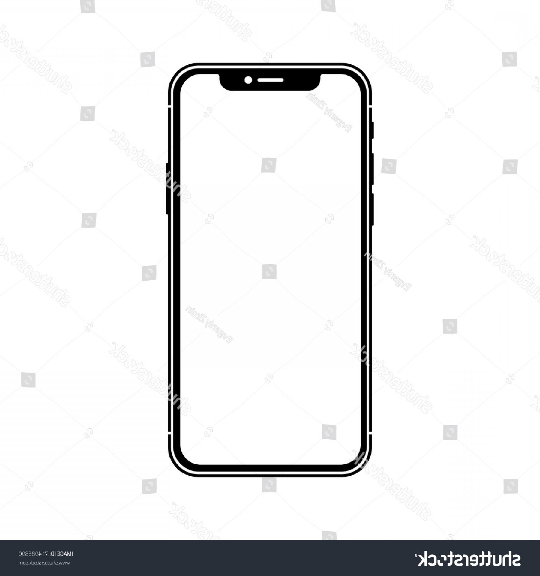 White IPhone Vector Png: Black Frameless Smartphone Iphone X Wireframe