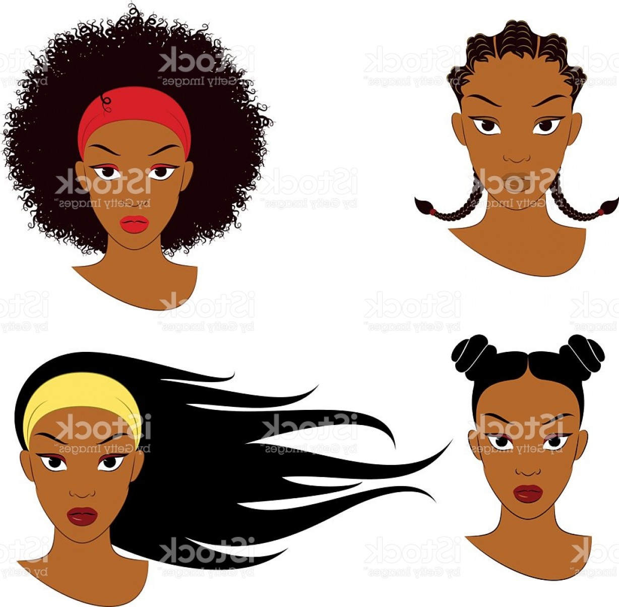 Black Woman Stock Vector: Black Girl Hair Styles Gm