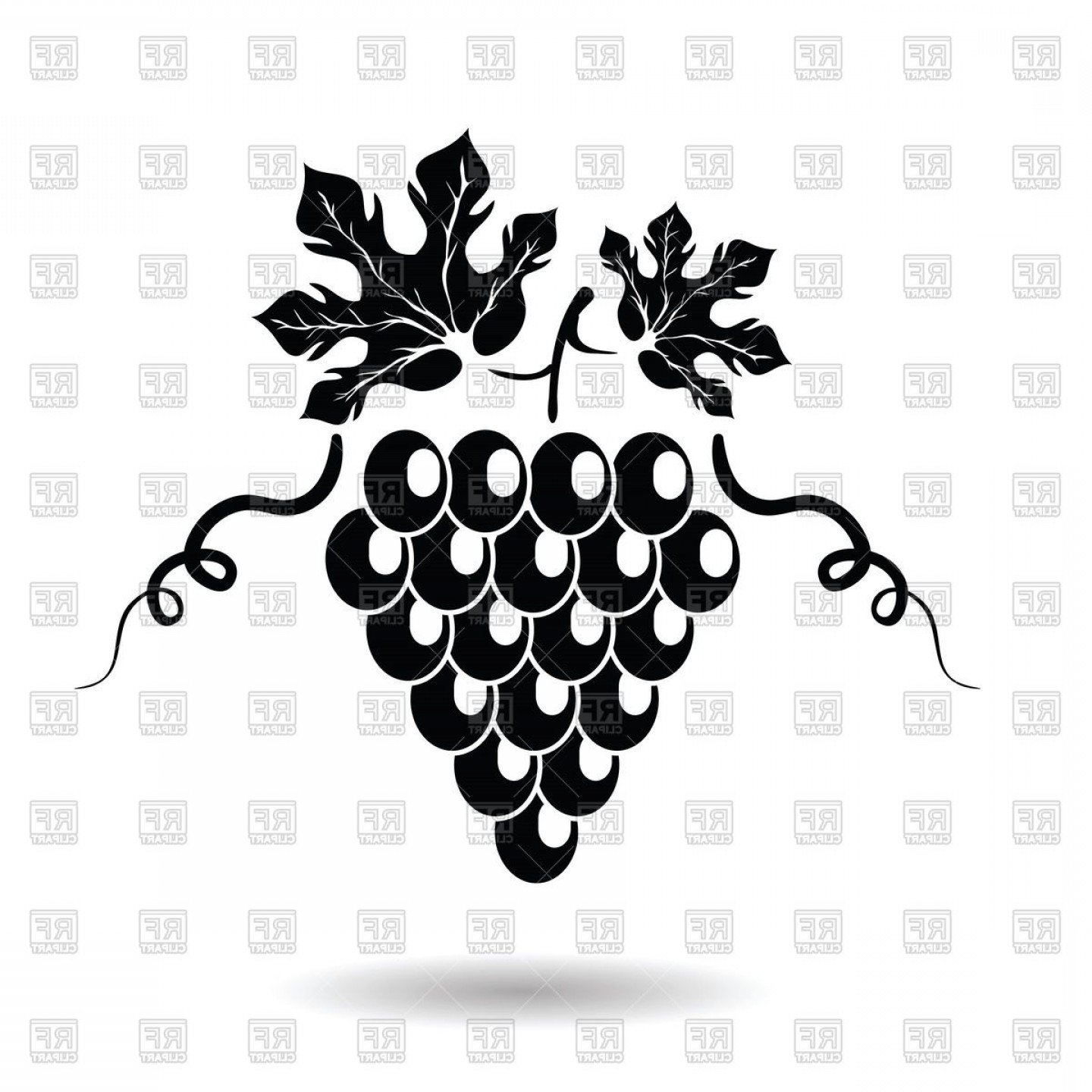 Grapes Clip Art Vector: Black Graphic Grapes With Leaves Vector Clipart