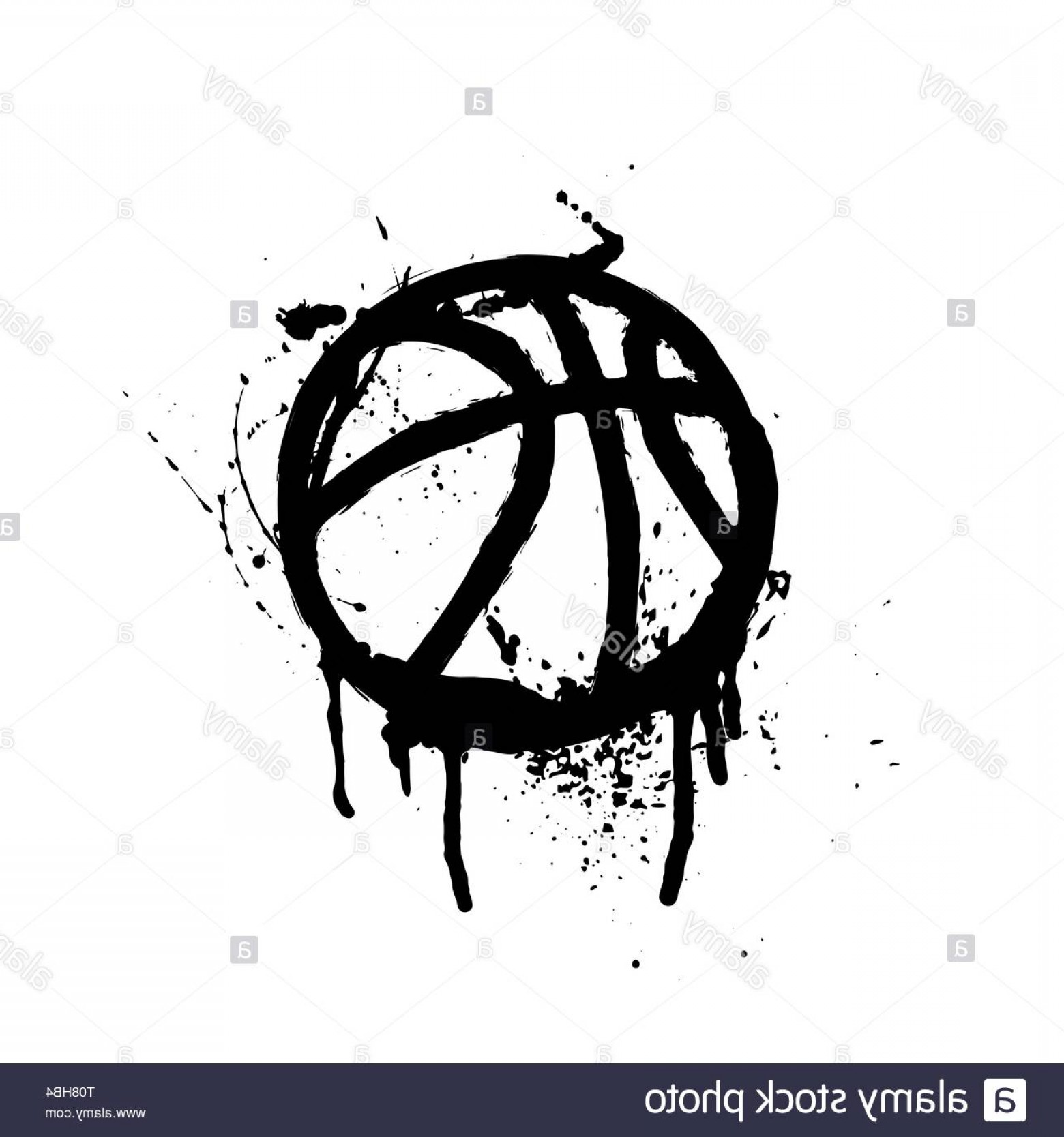 Grunge Basketball Vector: Black Grunge Basketball Silhouette Isolated On White Image