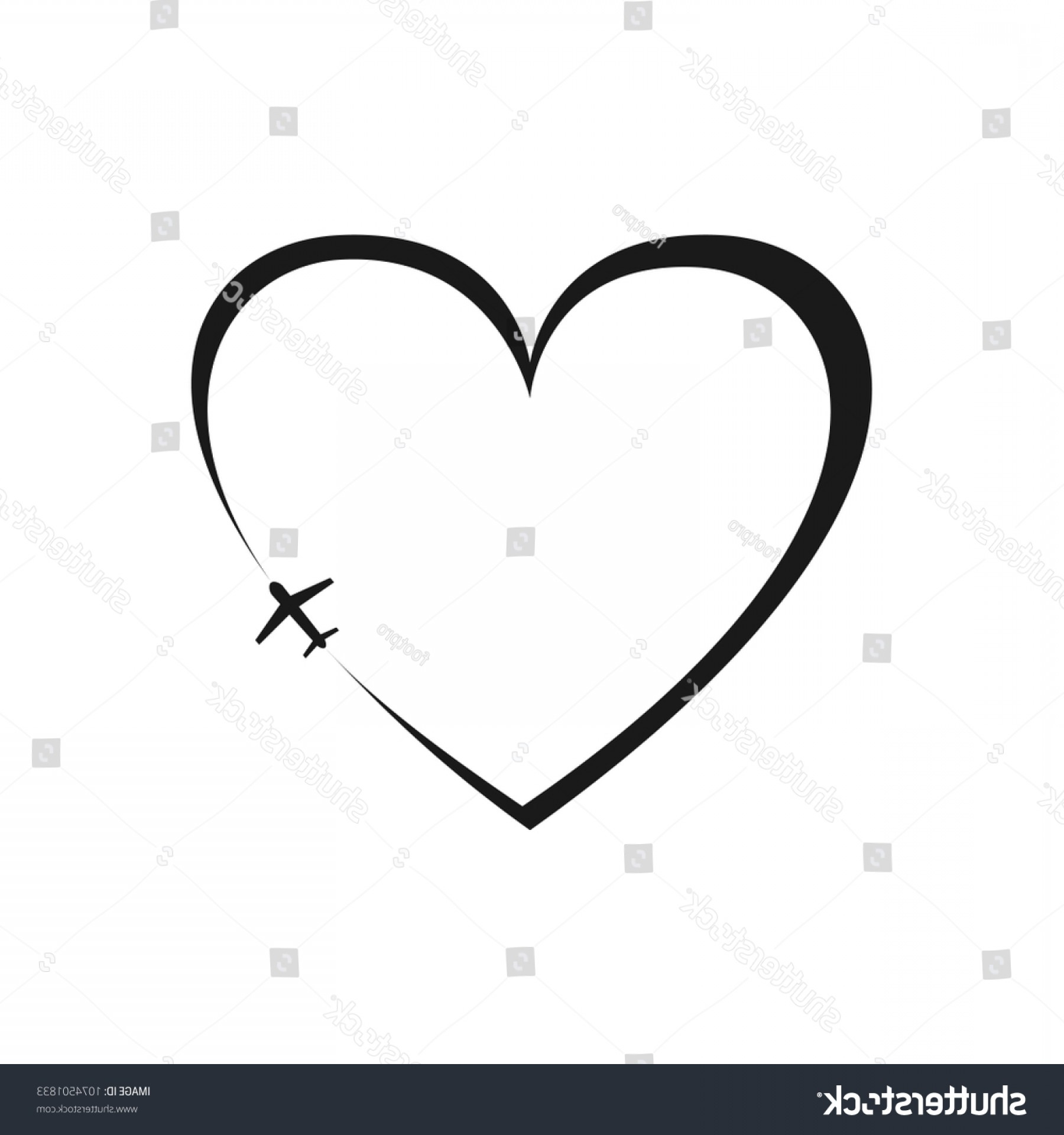 Black Heart And Plane Vector: Black Heart Icon Plane On White