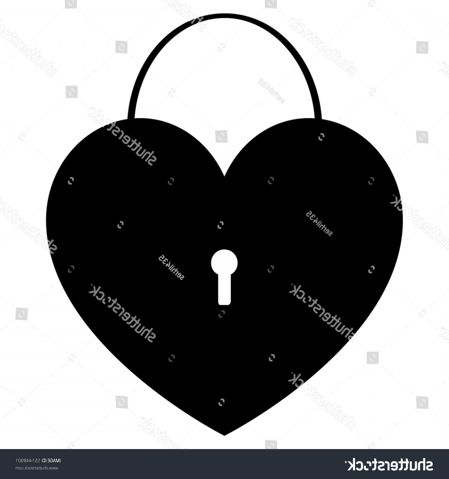 Heart Lock Vector: Black Heart Lock Vector Eps