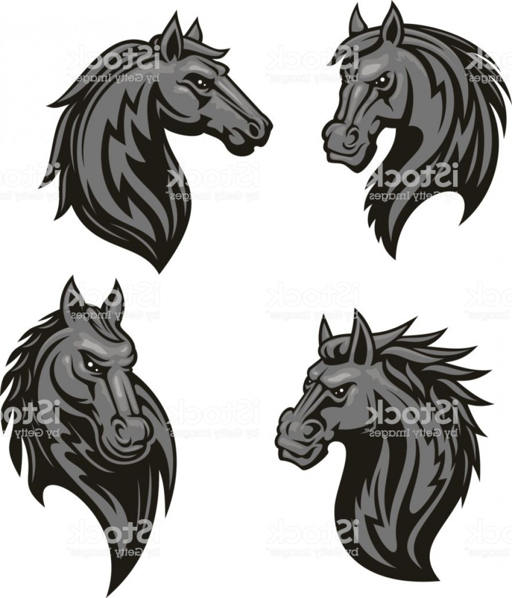 Tribal Vector Horseshoe Image: Black Horse Head Mascot With Tribal Ornament Gm