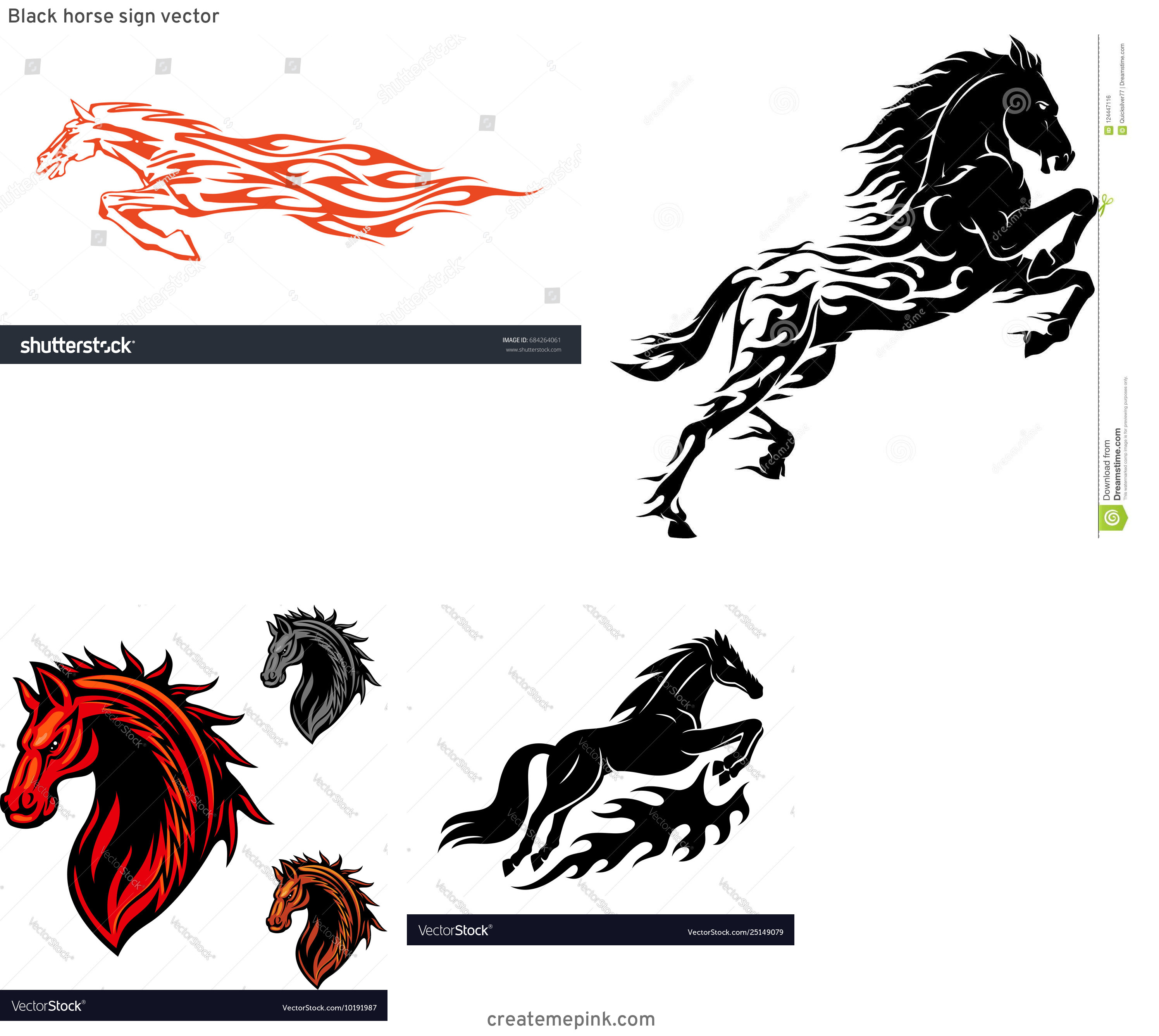 Horse With Flames Vector: Black Horse Sign Vector