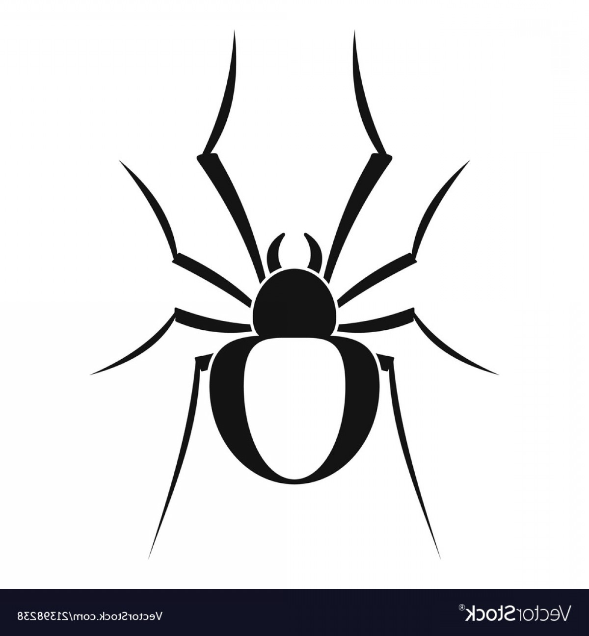 Easy Spider Vector Illustration: Black House Spider Icon Simple Style Vector