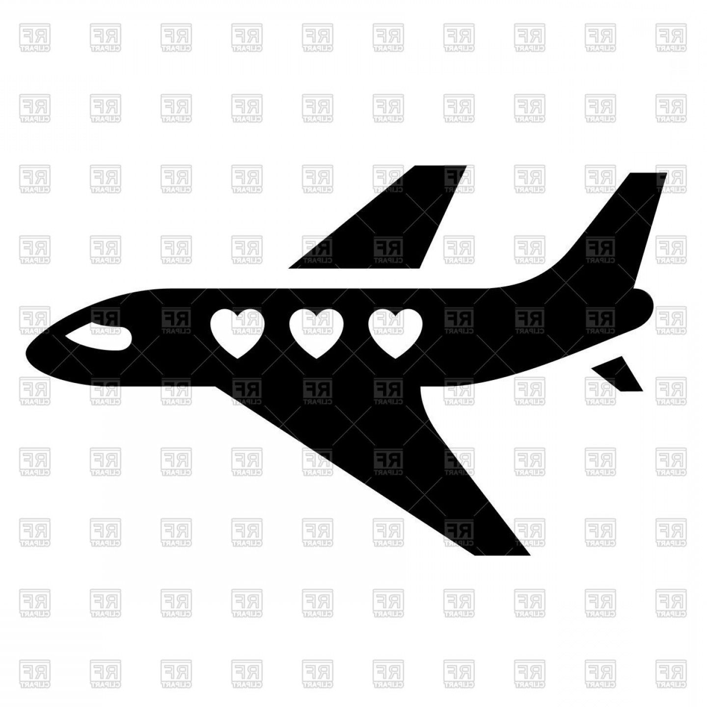 Black Heart And Plane Vector: Black Icon Of Love Plane Aeroplane Sign Vector Clipart