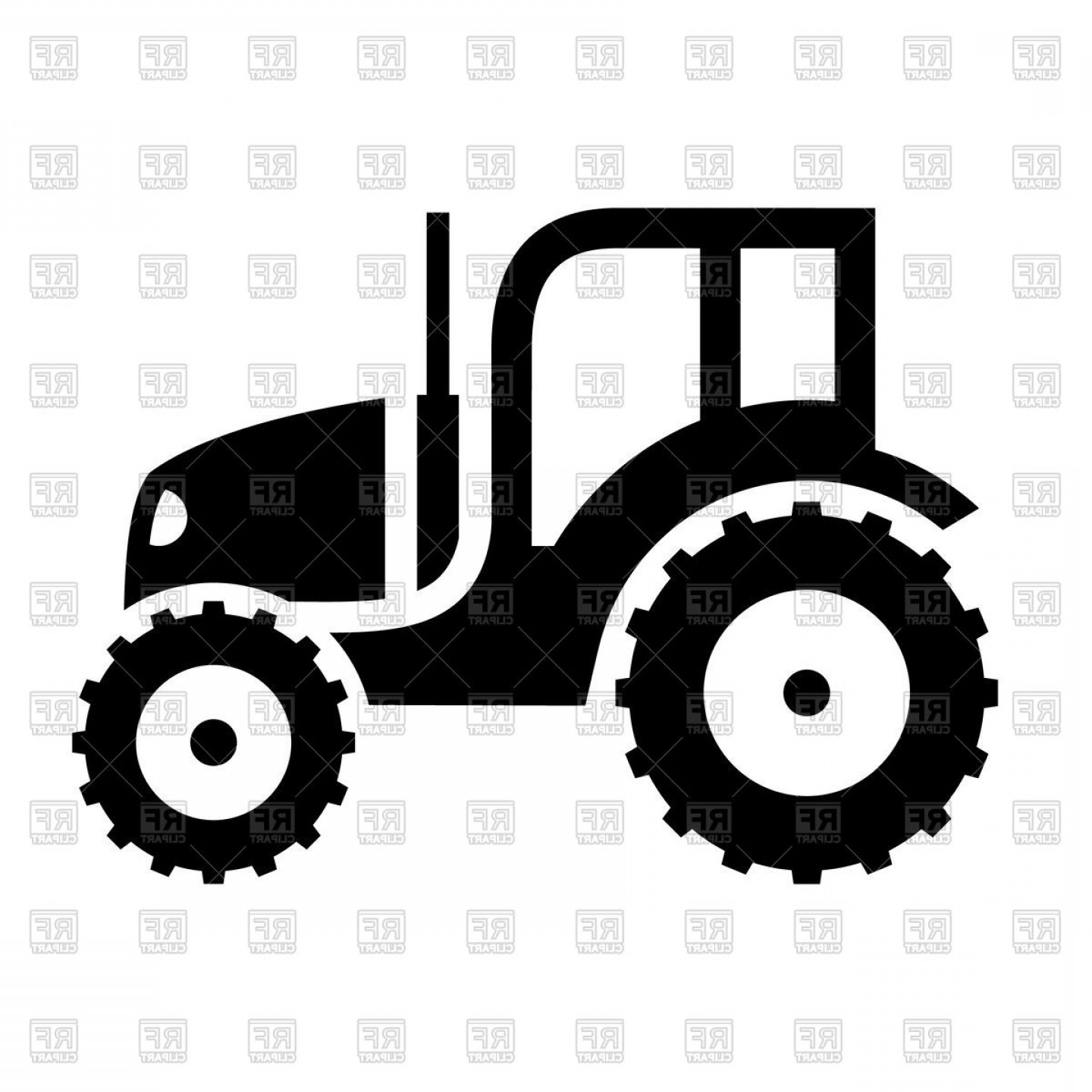 Tractor Silhouette Vector Art: Black Icon Of Tractor On White Background Vector Clipart