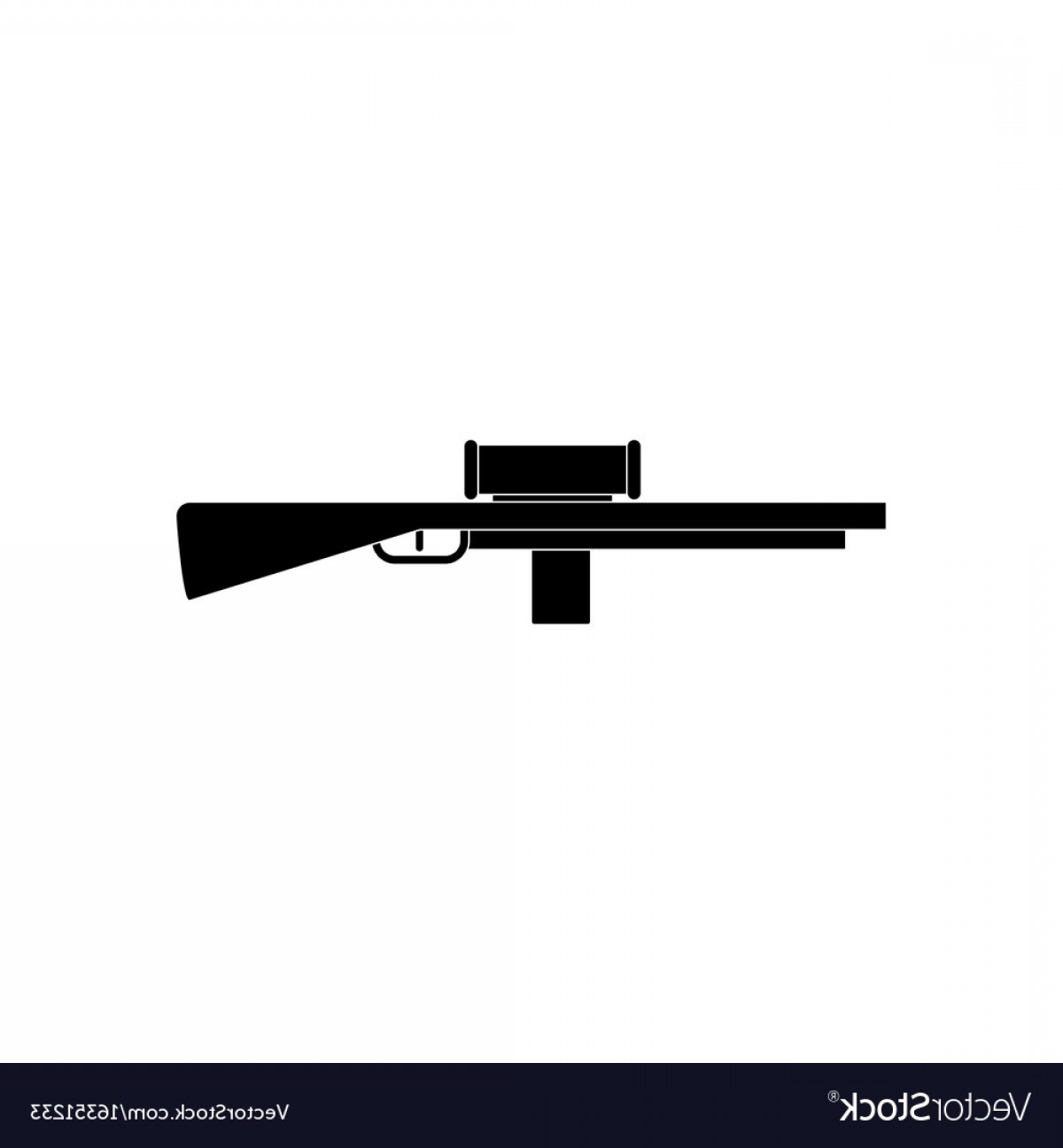 33 Rifle Vector: Black Icon On White Background Military Sniper Vector