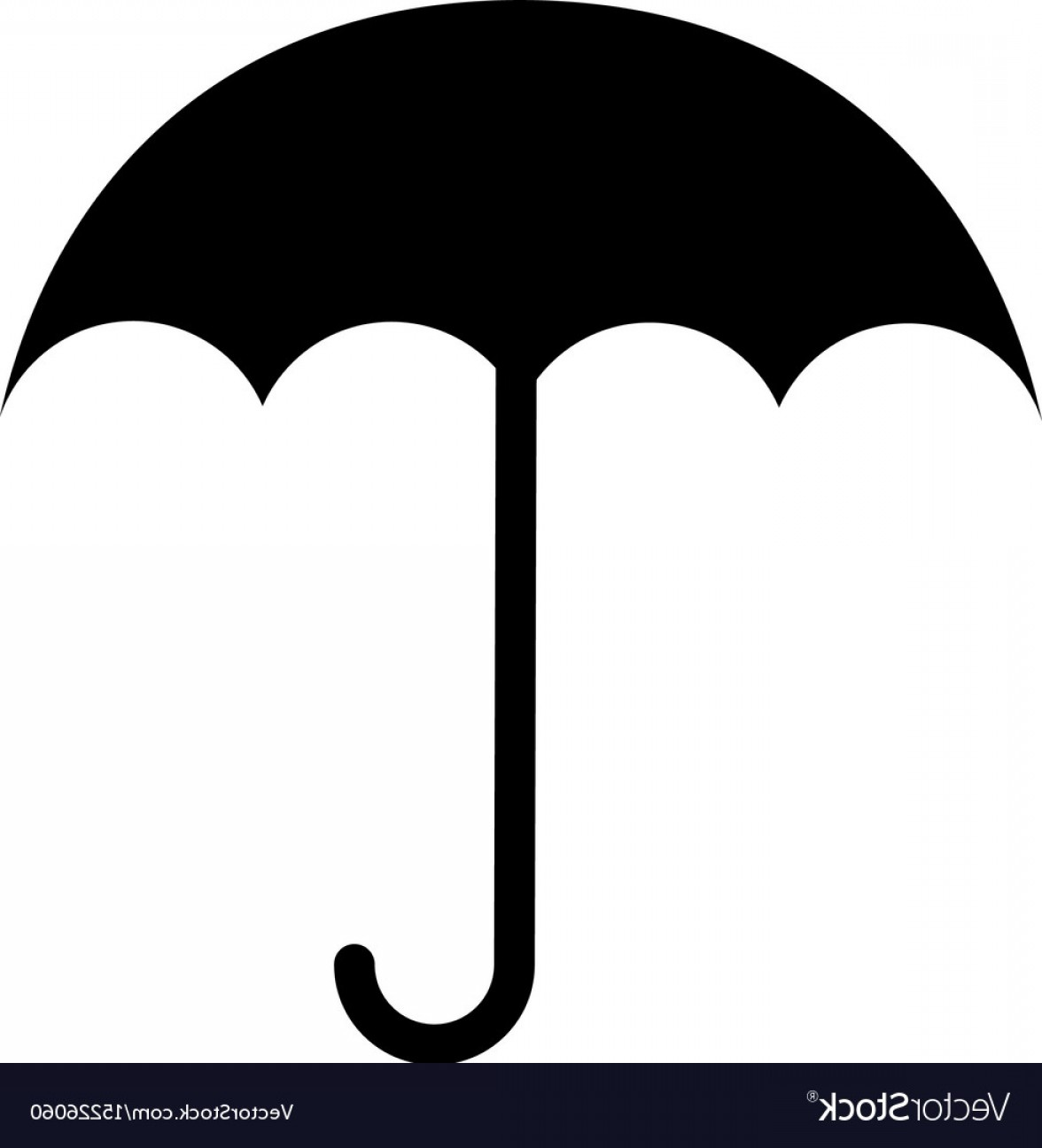 Umbrella Vector Black: Black Icon Umbrella Cartoon Vector