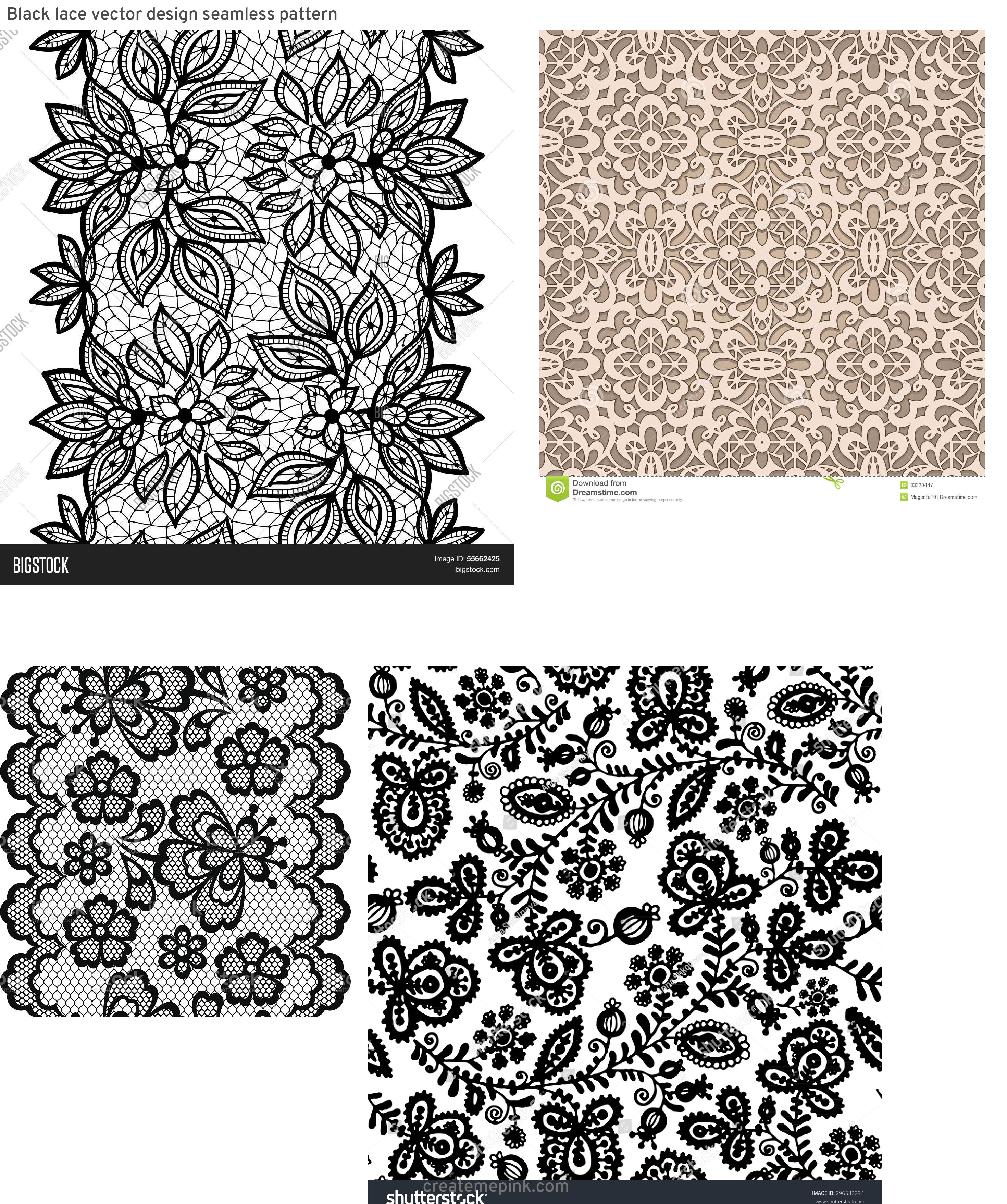 Vector Old Lace Black: Black Lace Vector Design Seamless Pattern