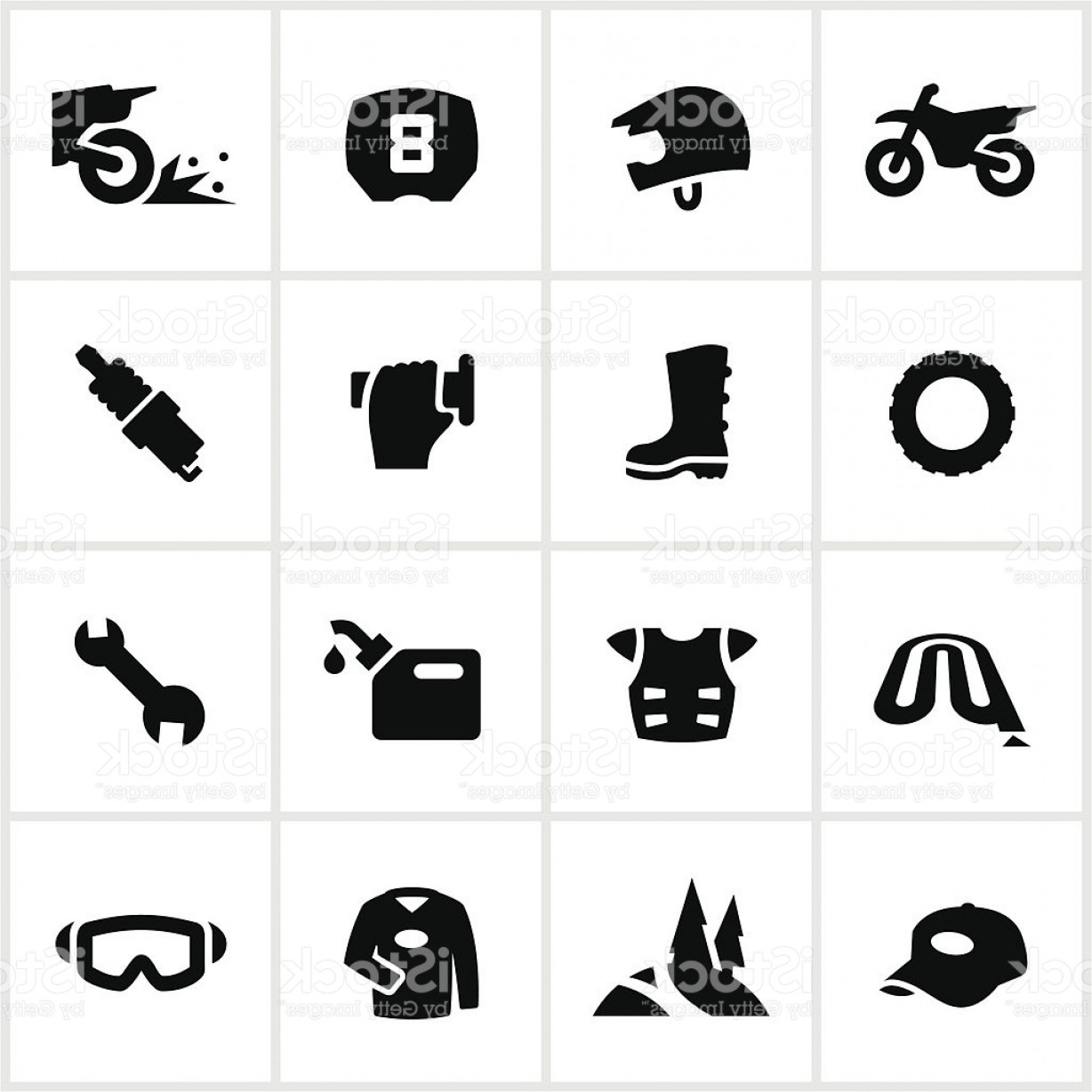Dirt Bike Gas Can Vector: Black Motocross And Dirtbike Icons Gm