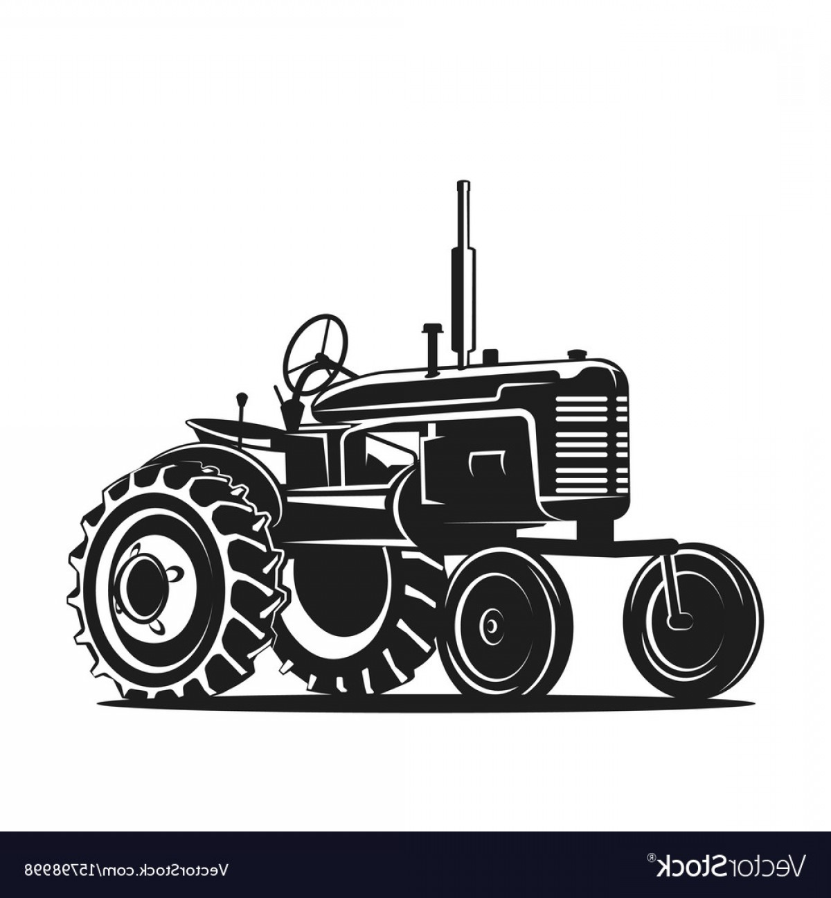 Tractor Silhouette Vector Art: Black Old Tractor Silhouette On White Background Vector