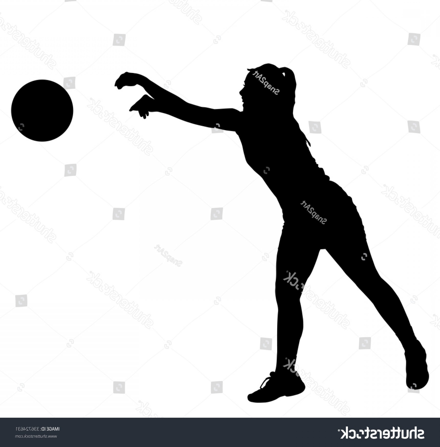 Volleyball Vector Dog Lady: Black On White Silhouette Korfball Ladies