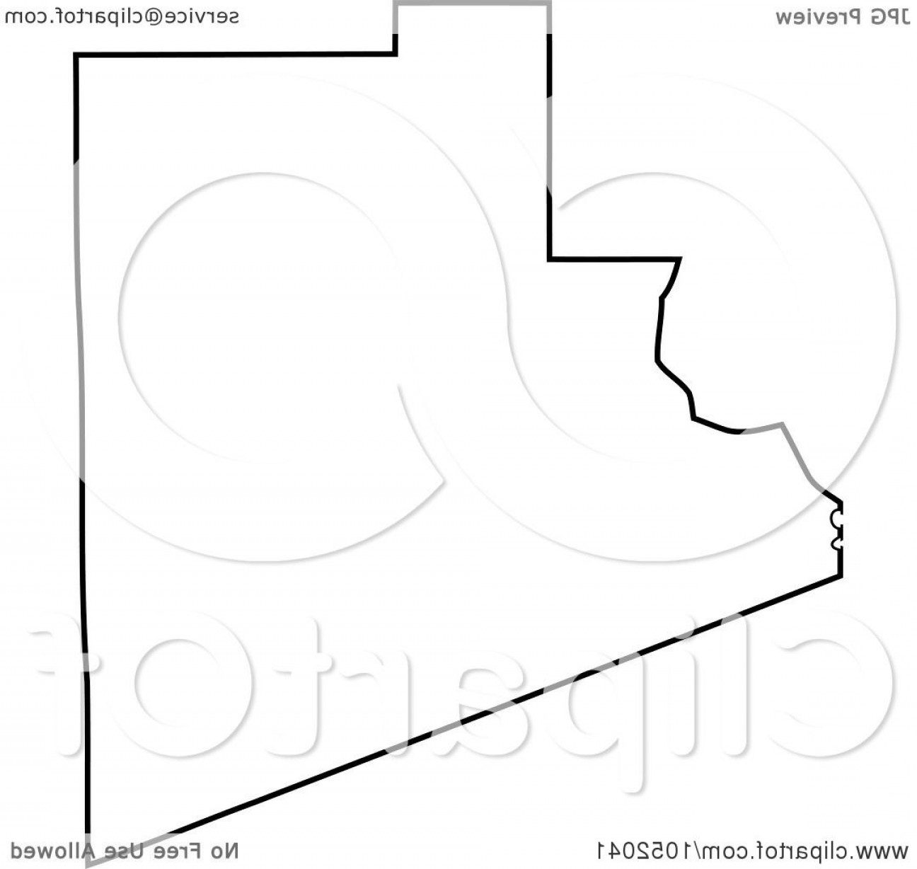 Arizona State Outline Vector: Black Outline Of Yuma County Arizona United States