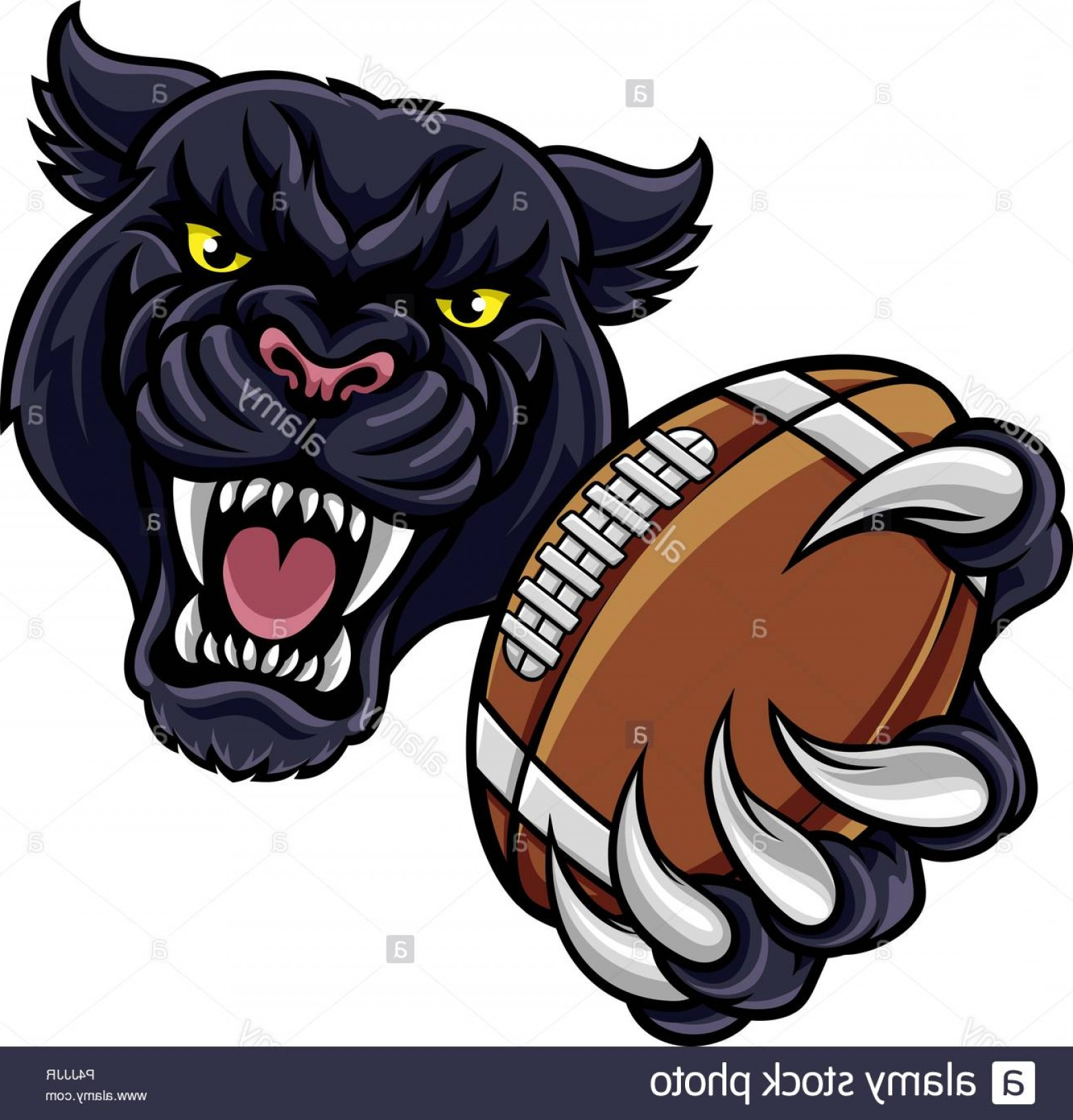 Panther Mascot Vector Sports: Black Panther American Football Mascot Image