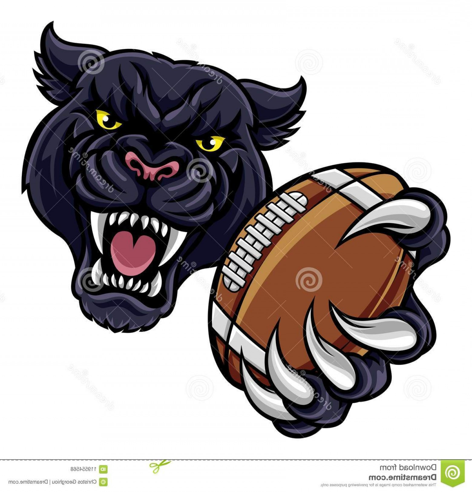 Vector Panther Football: Black Panther Angry Animal Sports Mascot Holding American Football Ball Black Panther American Football Mascot Image