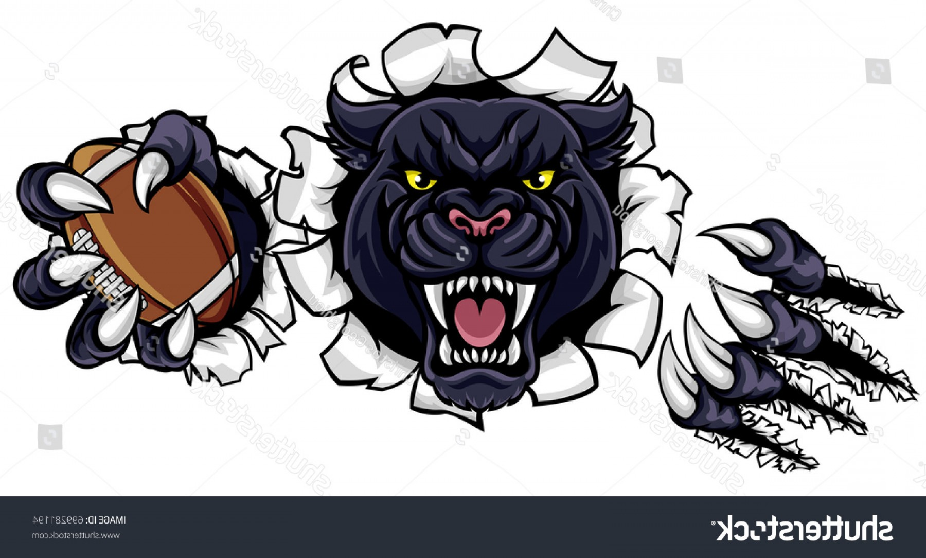 Panther Mascot Vector Sports: Black Panther Angry Animal Sports Mascot