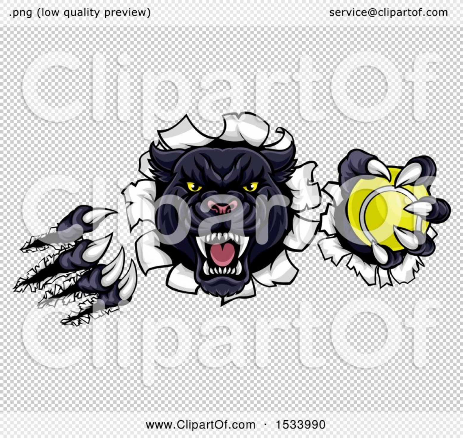 Panther Mascot Vector Sports: Black Panther Mascot Shredding Through A Wall With A Tennis Ball