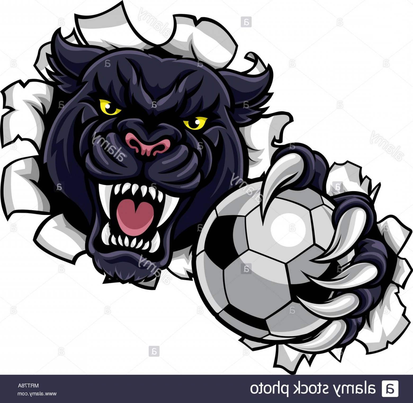 Panther Mascot Vector Sports: Black Panther Soccer Mascot Breaking Background Image