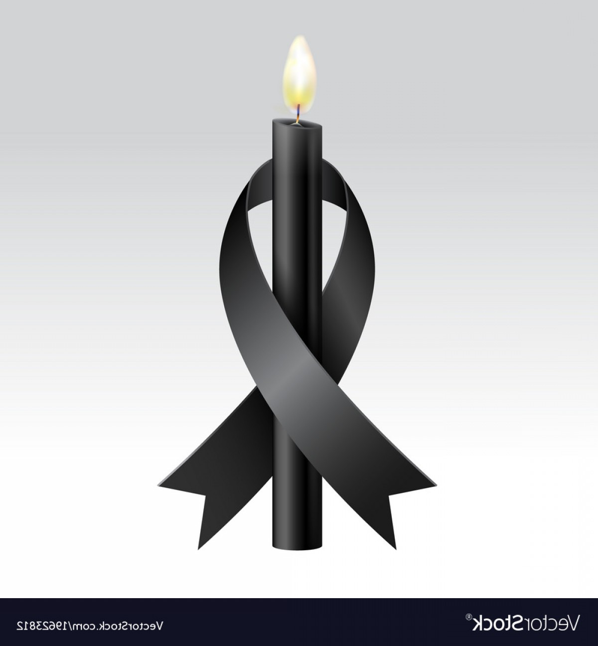 Candle Vector Black: Black Ribbon Black Candles Mourning Vector
