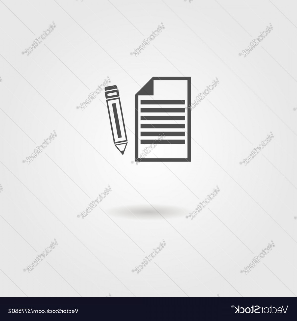 Paper And Pencil Icon Vector: Black Sheet Of Paper And Pencil Icon Vector