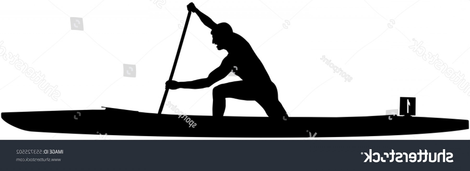 Stand Up Paddle Boarder Vector: Black Silhouette Athlete Rower Sports Canoe