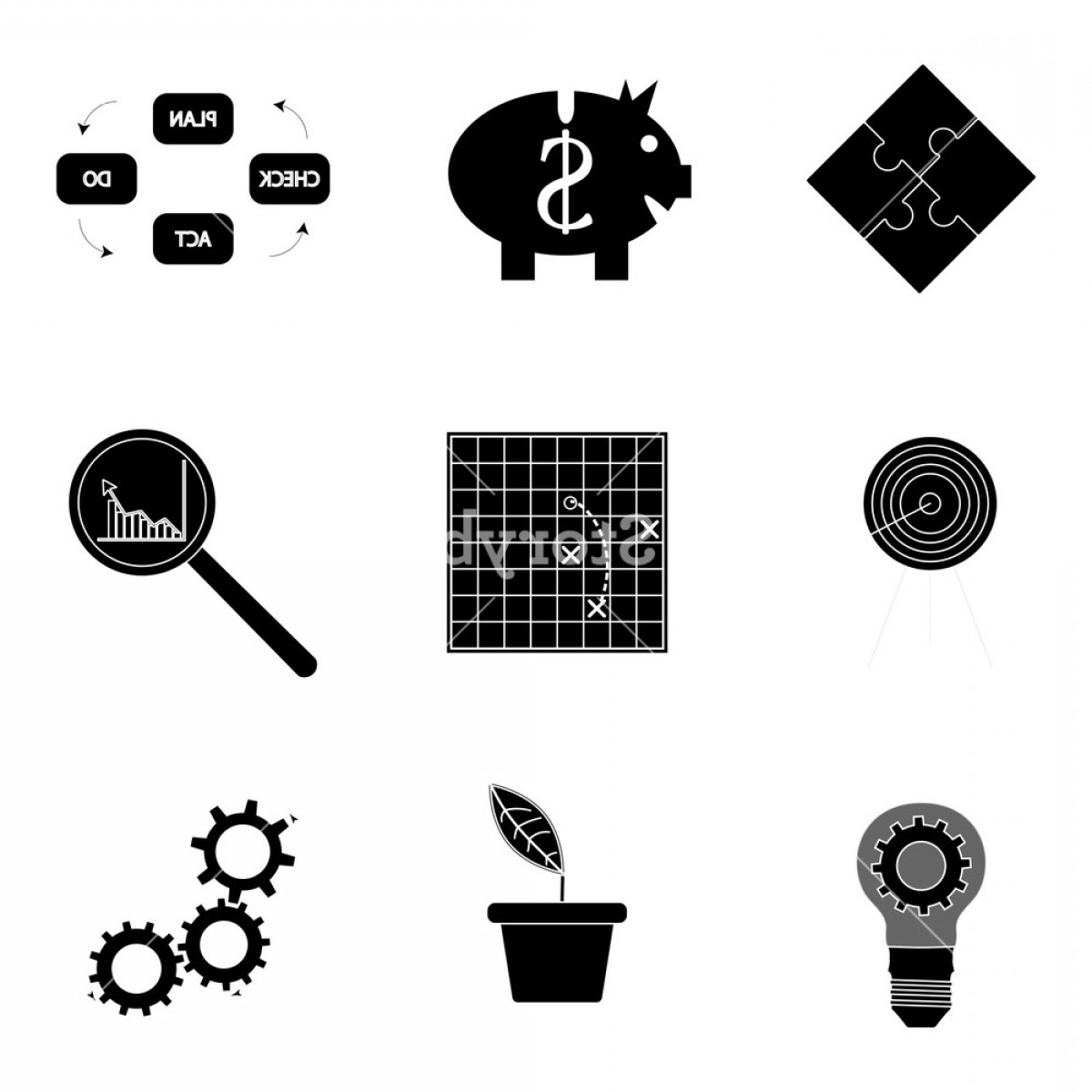 RZR Vector Black And White: Black Silhouette Business Icons Analysis And Tactic Productivity Development And Optimization Vector Illustration Hzsghxd Jqaho