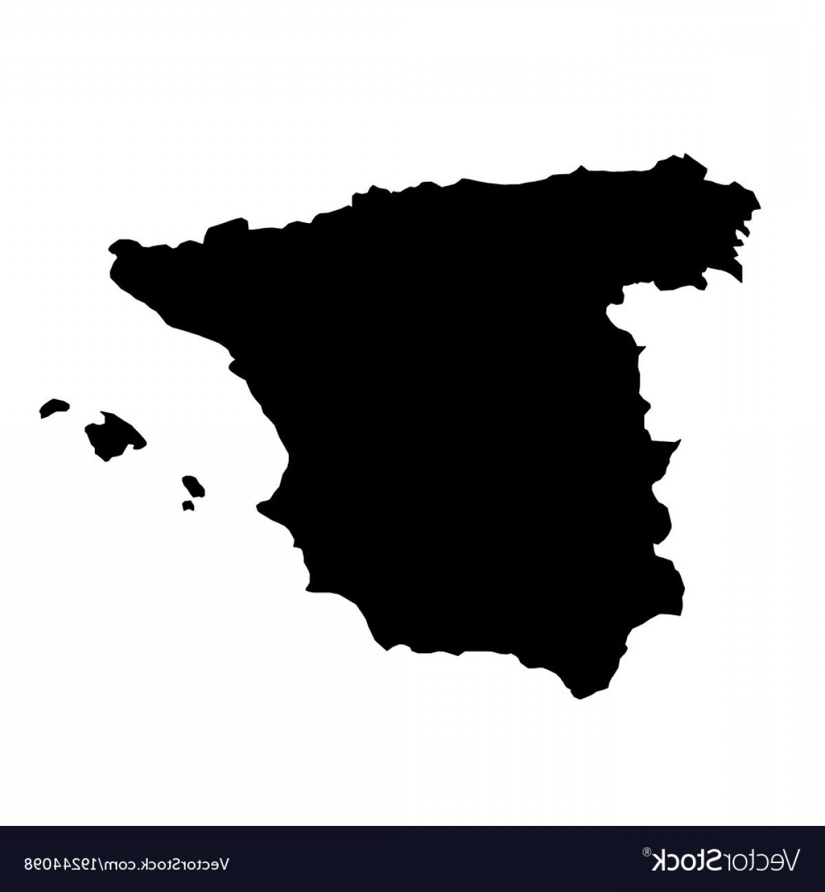 Spain Outline Vector: Black Silhouette Country Borders Map Of Spain On Vector