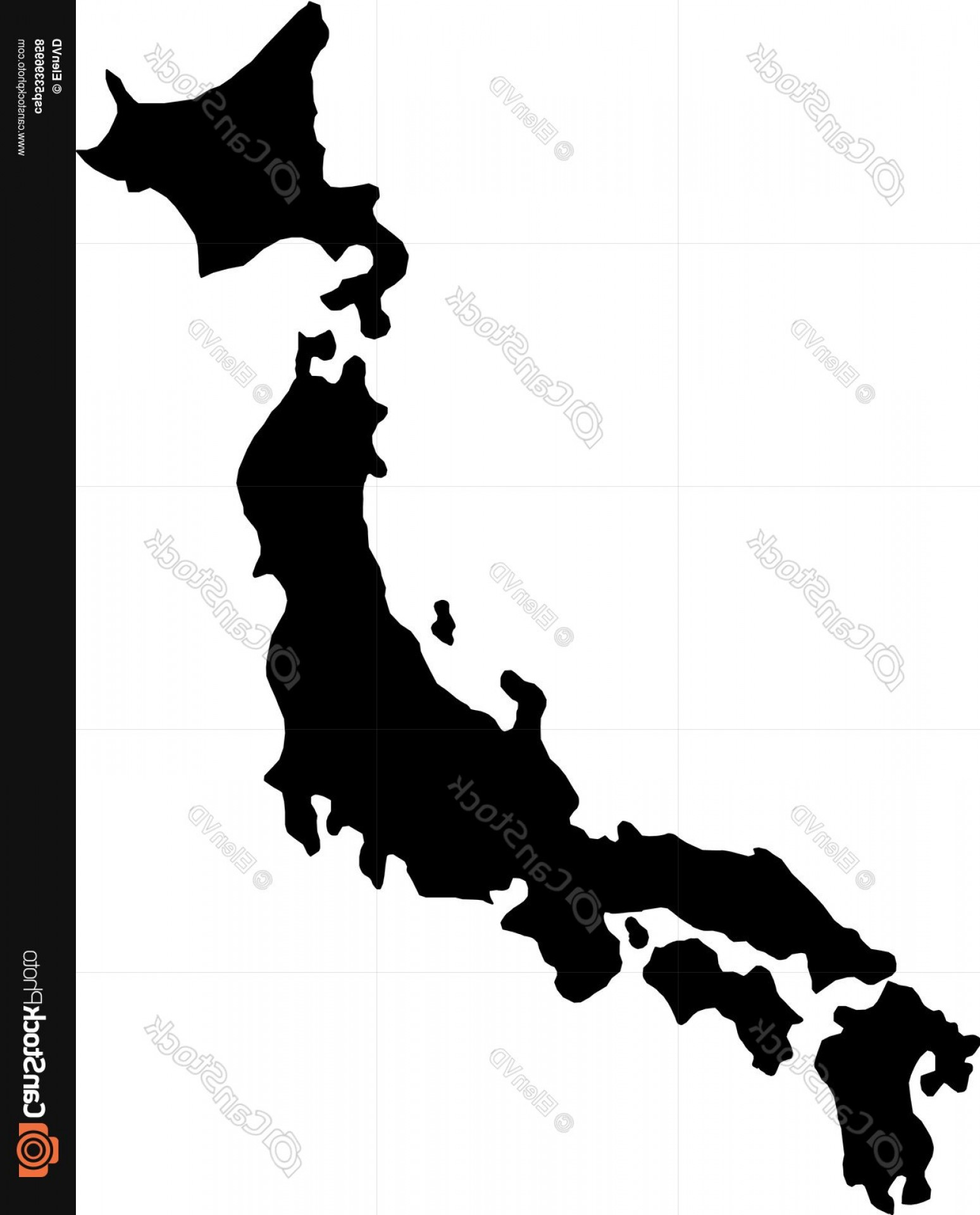Japan Map Vector: Black Silhouette Country Borders Map Of